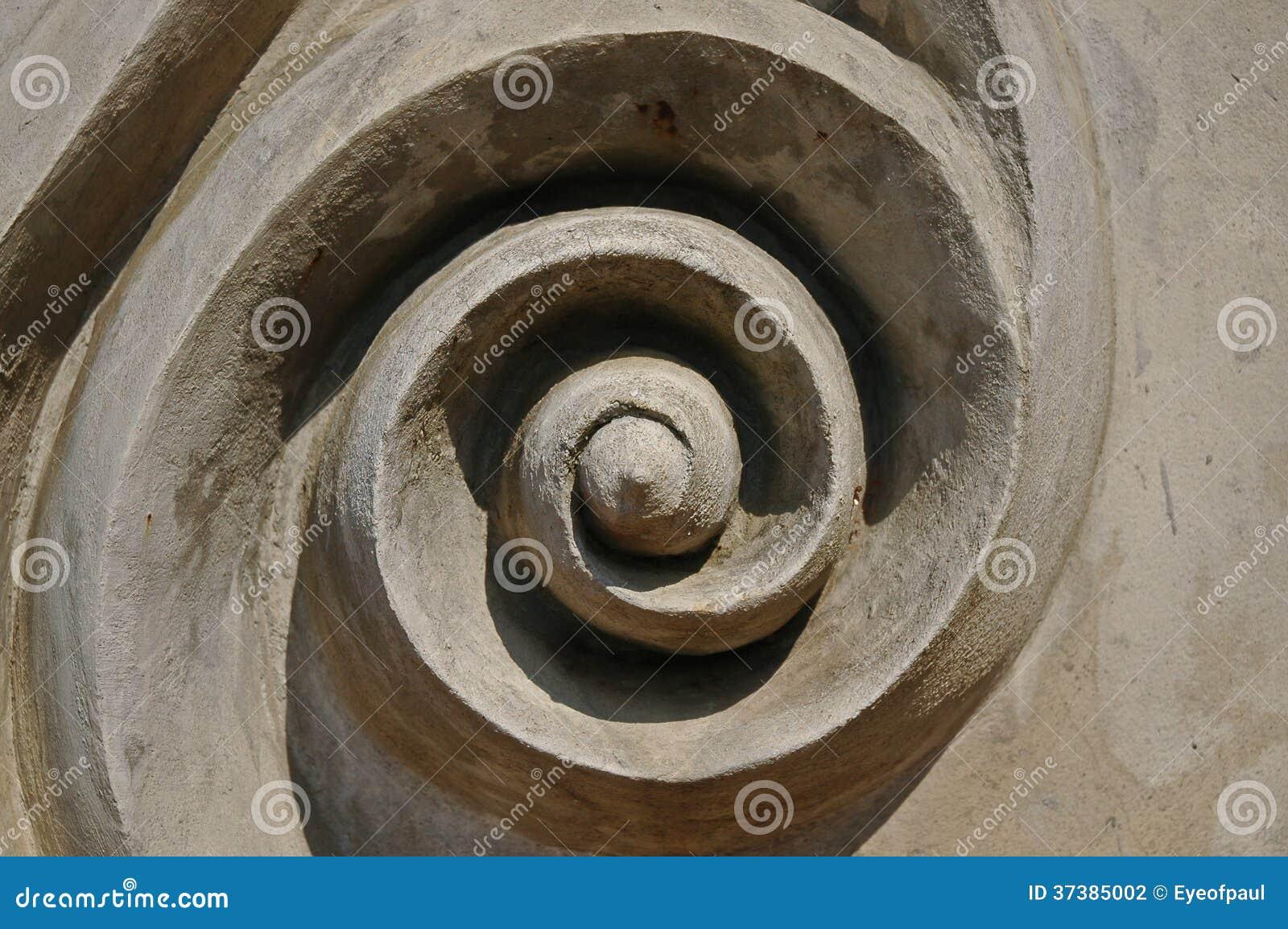 Abstrakcjonistycznego zawijasa sztuki kółkowa ikona na betonowej ścianie