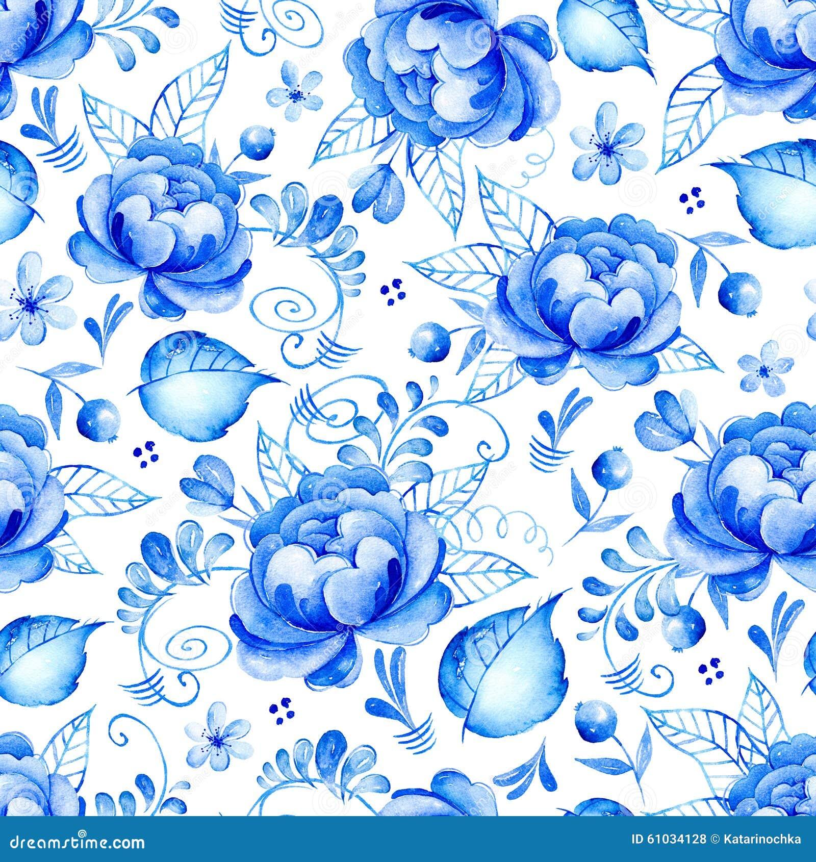 Abstrakcjonistycznej akwareli kwiecisty bezszwowy wzór z ludową sztuką kwitnie Błękitny biały ornament Tło z białymi kwiatami, li