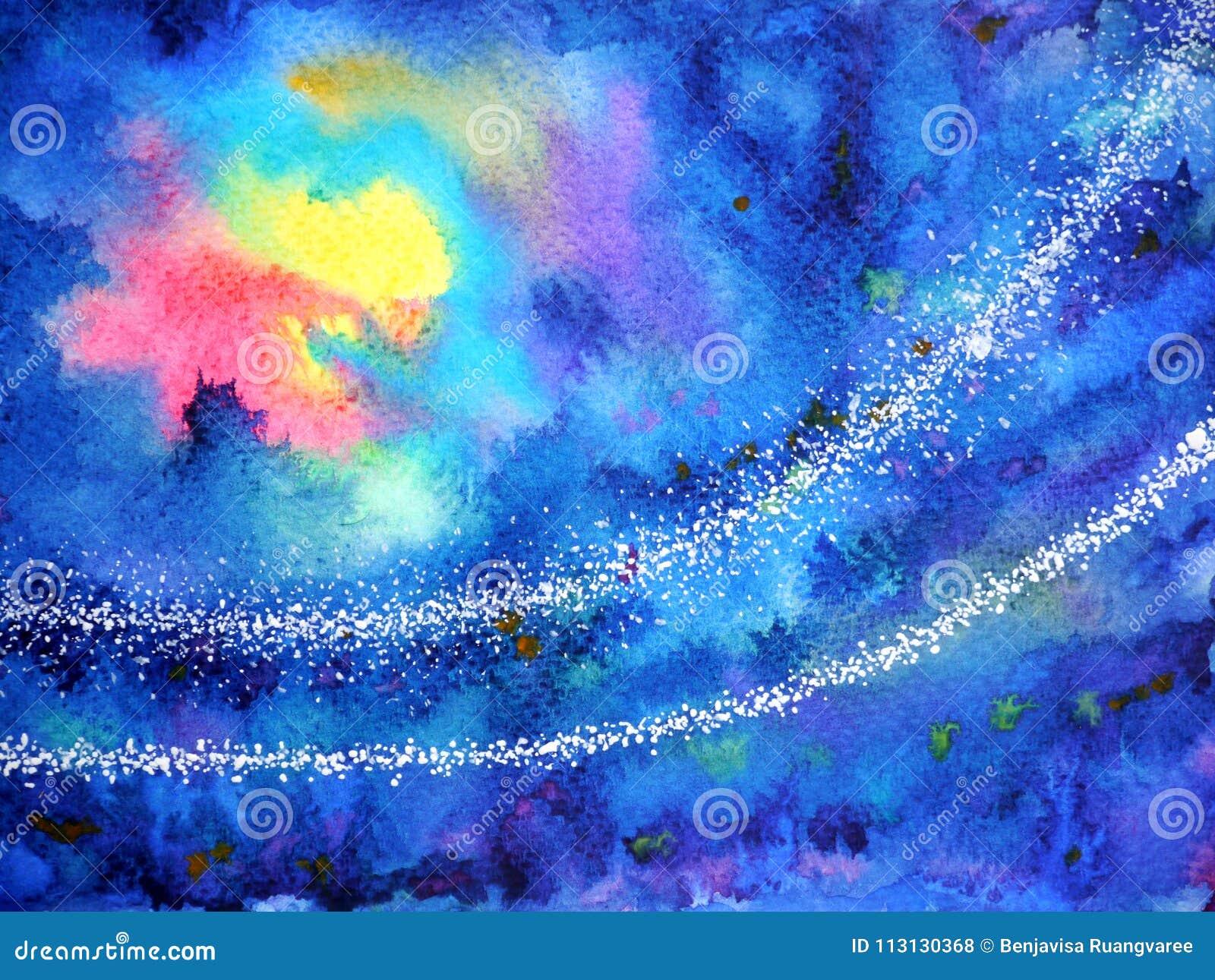 Abstrakcjonistycznej grafiki czerwonego światła słońca żółta księżyc na zmroku - niebieskie niebo noc