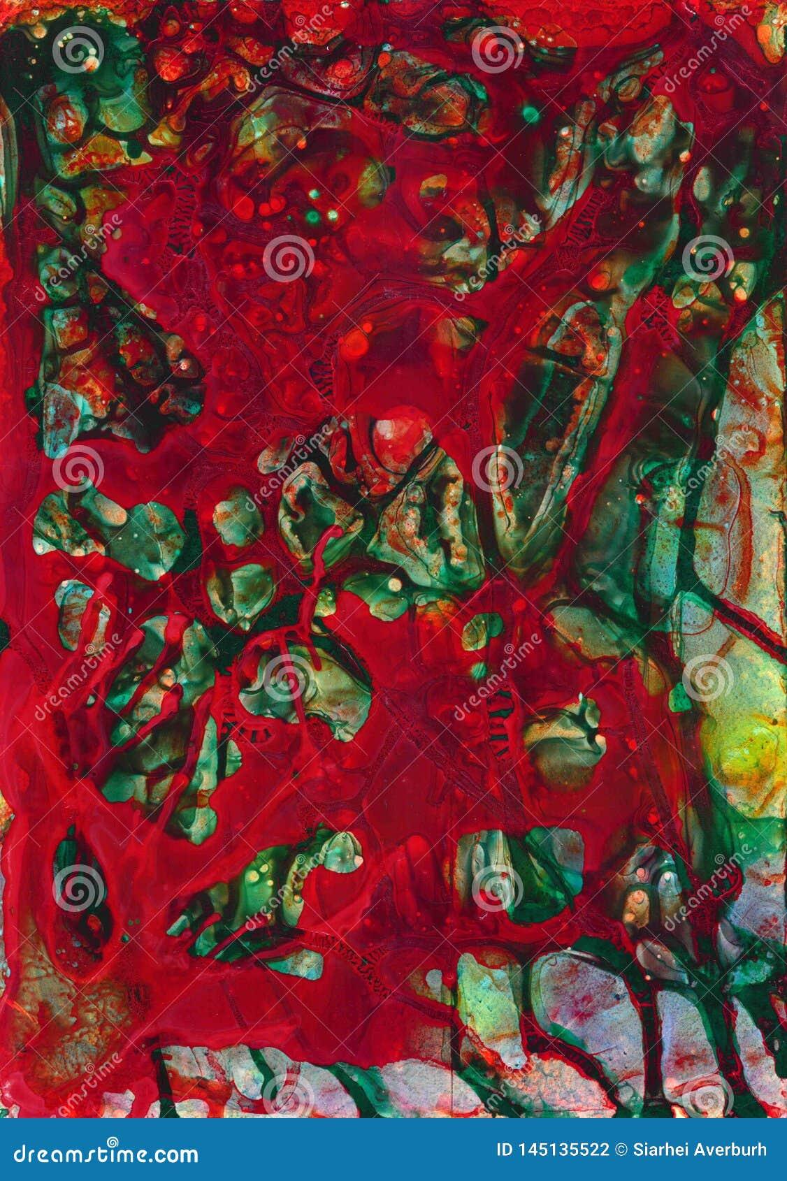 Abstrakcjonistycznej kolorowej pozaziemskiej akwareli tekstury akrylowy tło