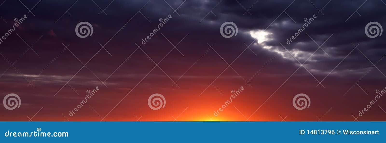 Abstrakcjonistycznej sztandaru panoramy panoramiczny wschód słońca zmierzch