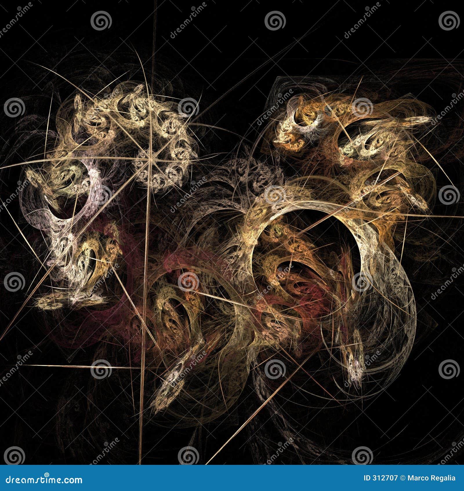 Abstrakcjonistycznej sztuki sztuczne płomienia komputerowy fractal wywołało obraz iteratywnego