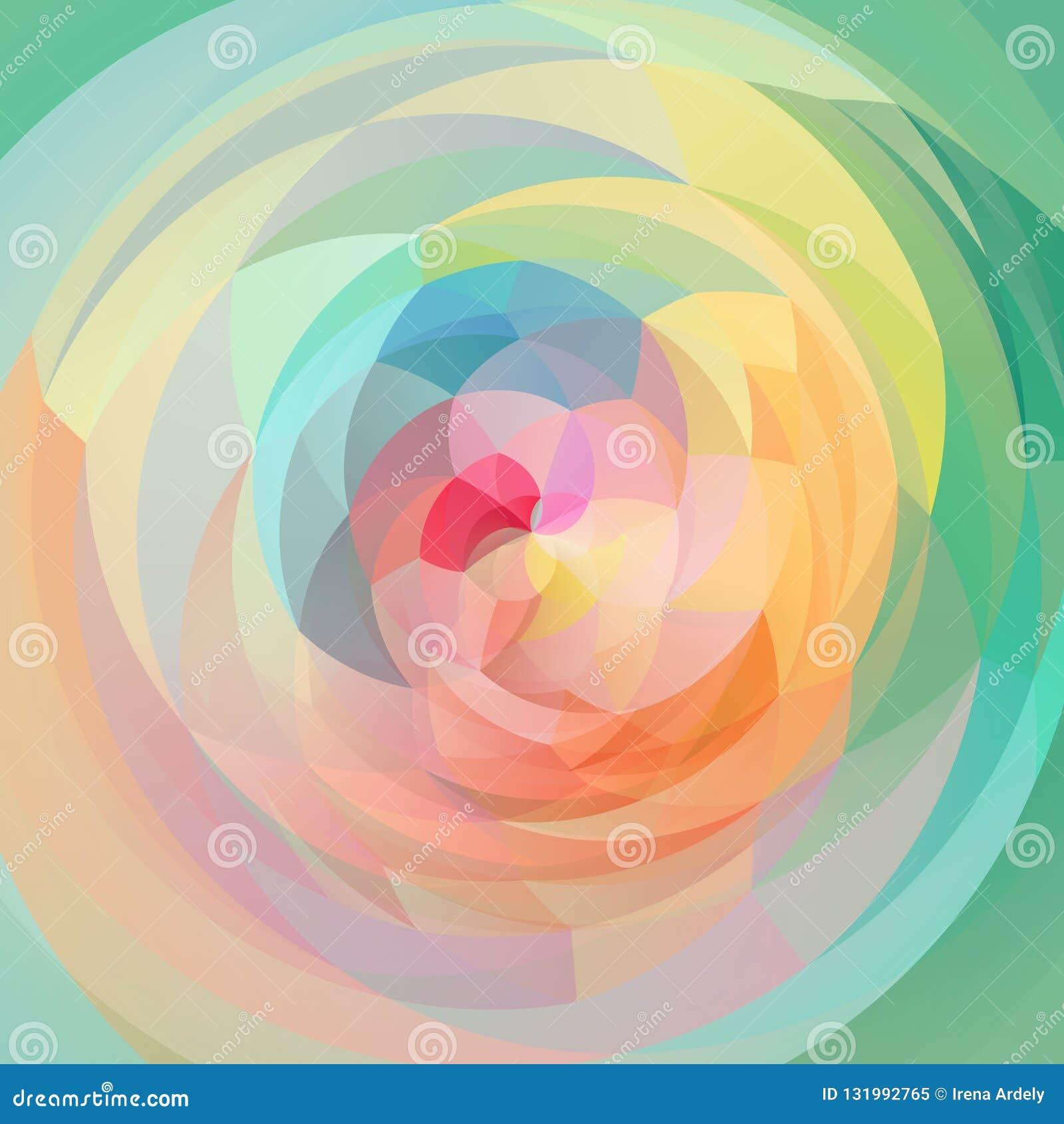 Abstrakcjonistycznej sztuki zawijasa geometryczny tło wiosny zieleń, kolor żółty, menchia, błękit, pomarańcze - folująca widmo tę