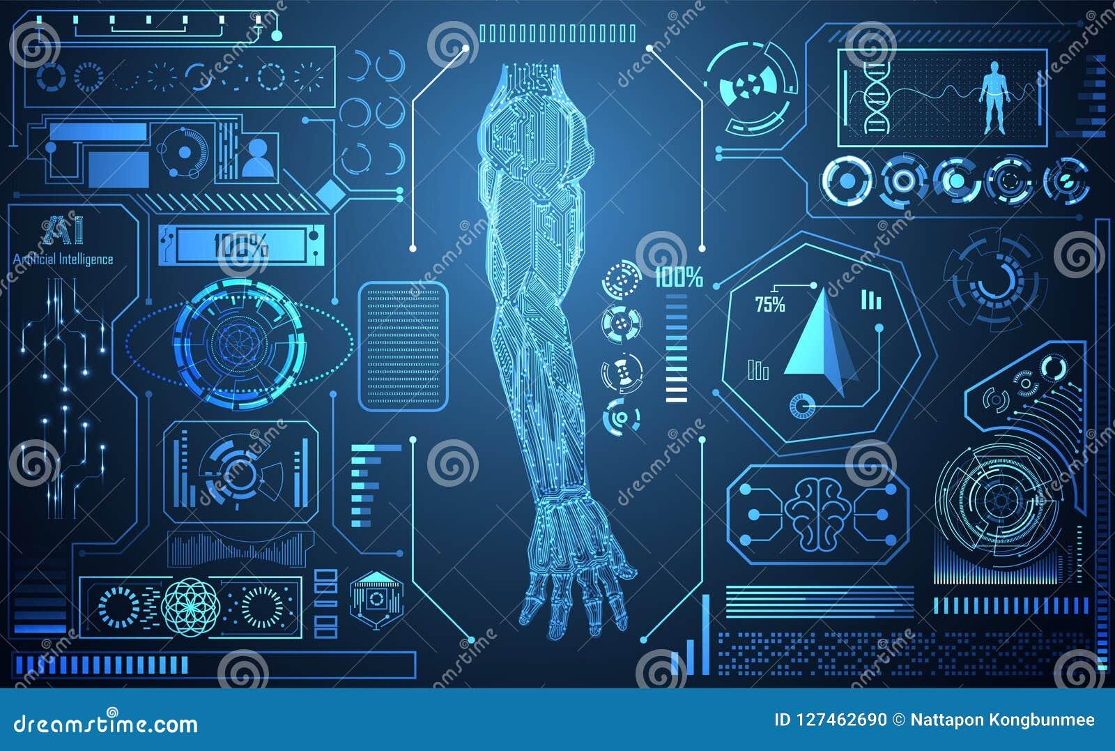 Abstrakcjonistycznej technologii AI ręki sztucznej inteligenci cyfrowy conce