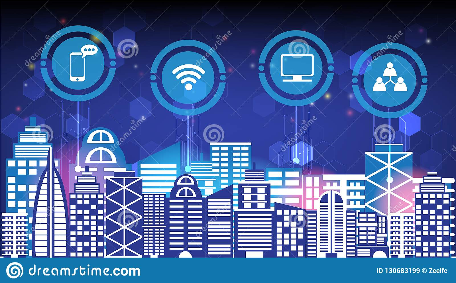 Abstrakcjonistycznej technologii innowacji miasta i radio sieci komunikacyjnej nocy miasta mądrze ogólnospołeczny cyfrowy życie,