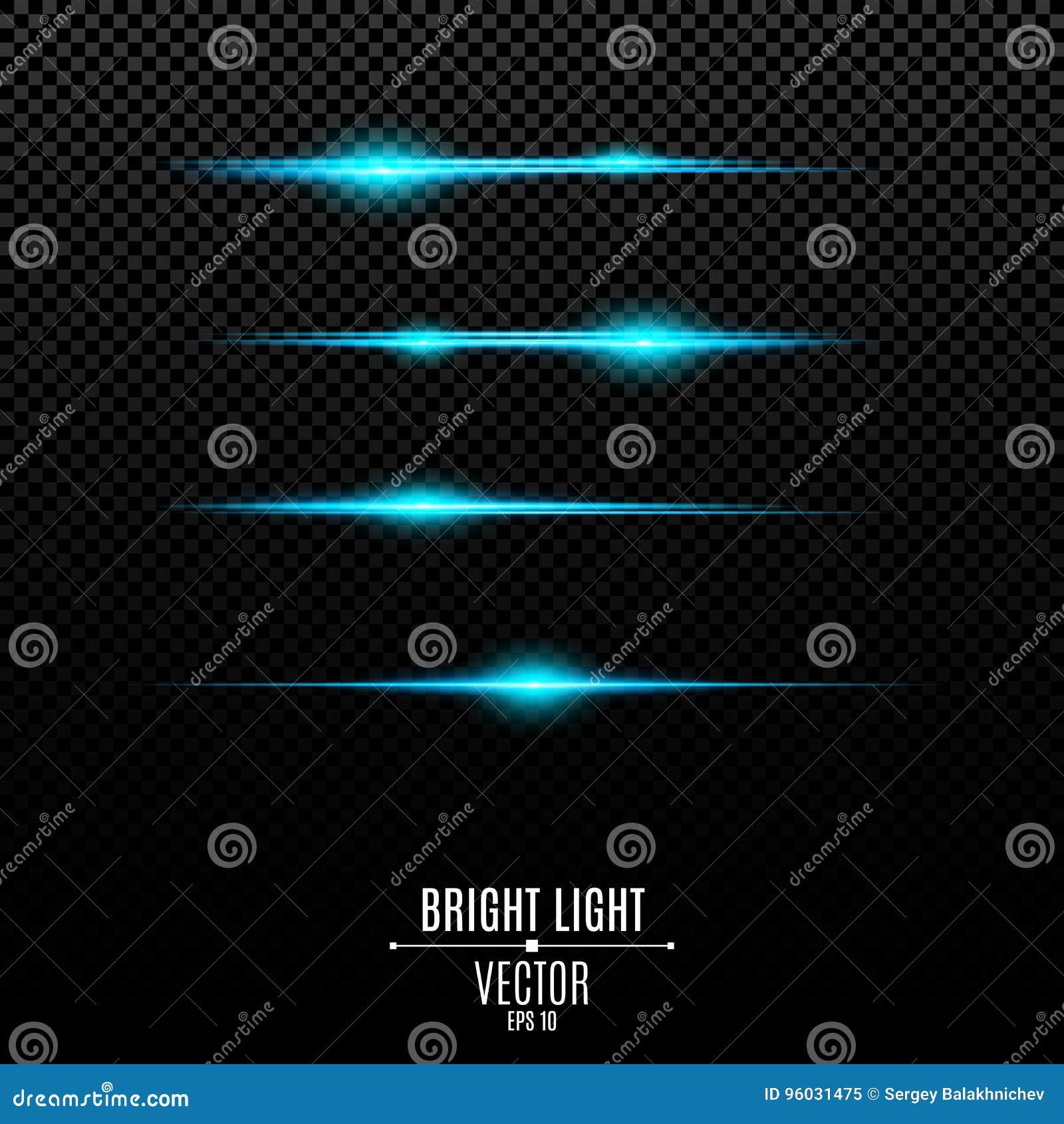 Abstrakcjonistyczni błękitów światła na przejrzystym tle Jaskrawy świecenie błękit i błyski Skutek kamera Światło jaskrawy promie