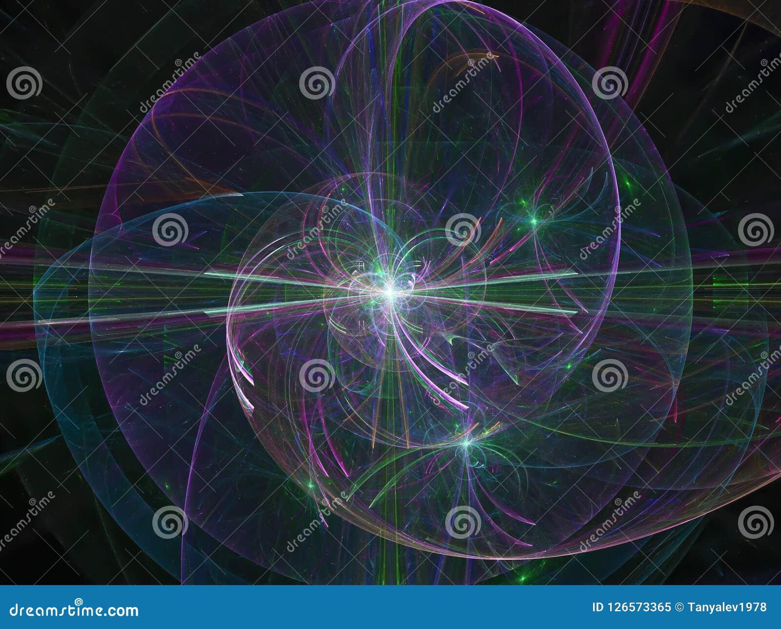 Abstrakcjonistyczni cyfrowi, tajemniczy wizualni błyszczący wyobraźnia dane płynie kreatywnie koloru projekt, fractal fantazja