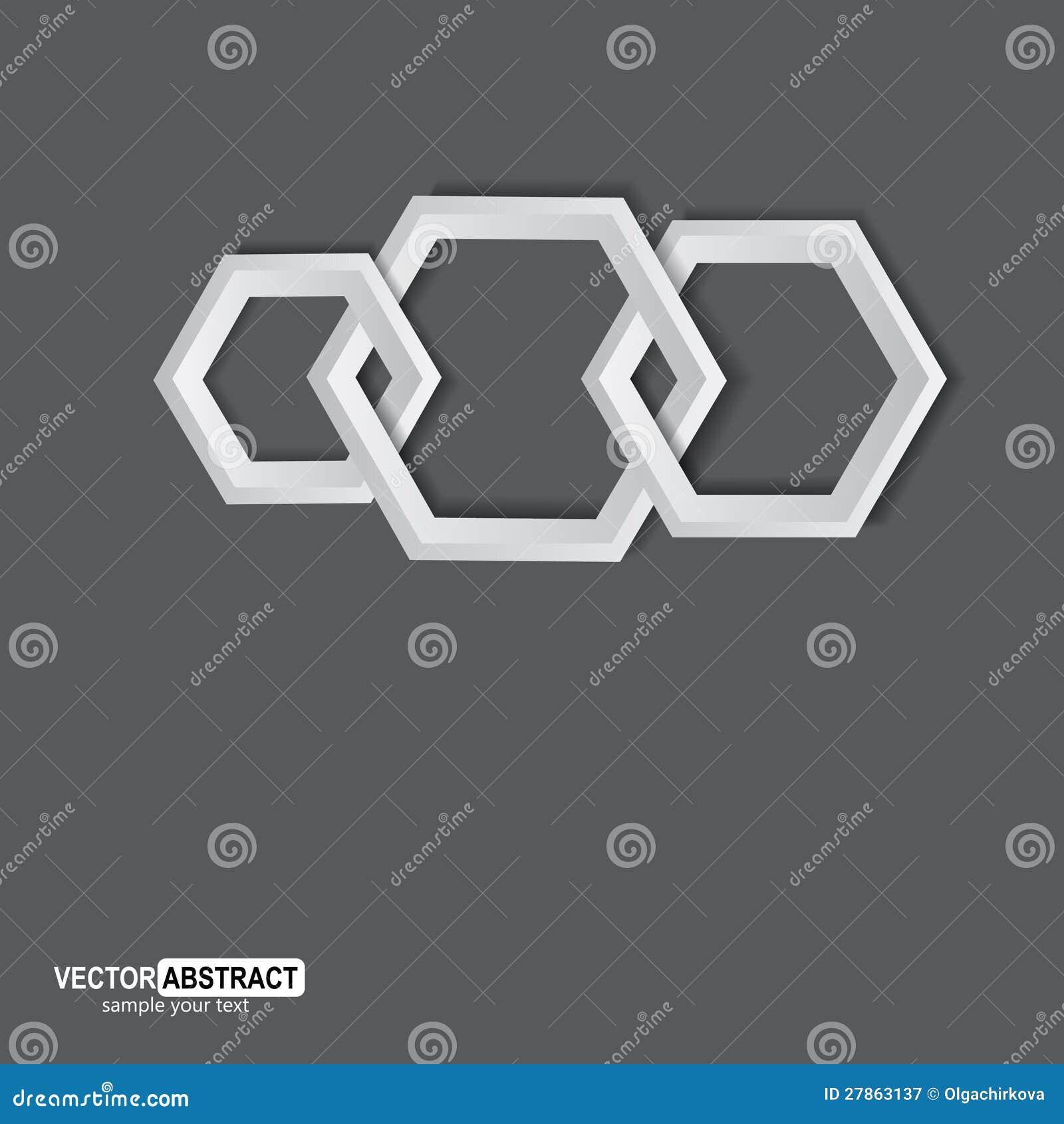 Abstrakcjonistyczni geometryczni sześciokąty.