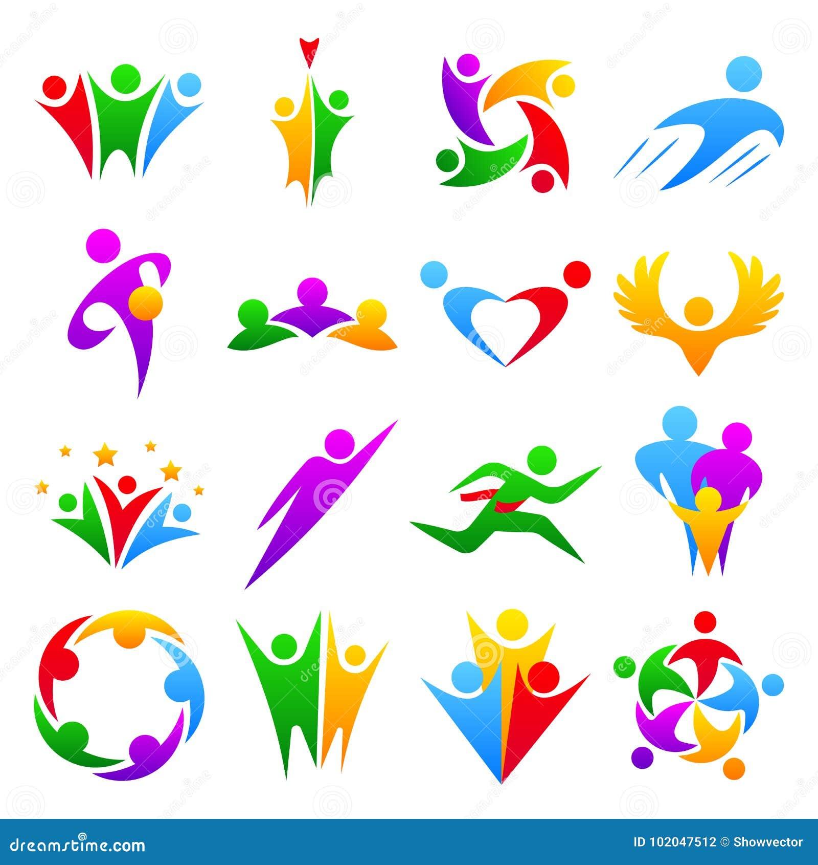 Abstrakcjonistyczni ludzie drużyny ciała grupowej sylwetki kształtują ikona loga pojęcia projekta graficznych charakterów ludzkie