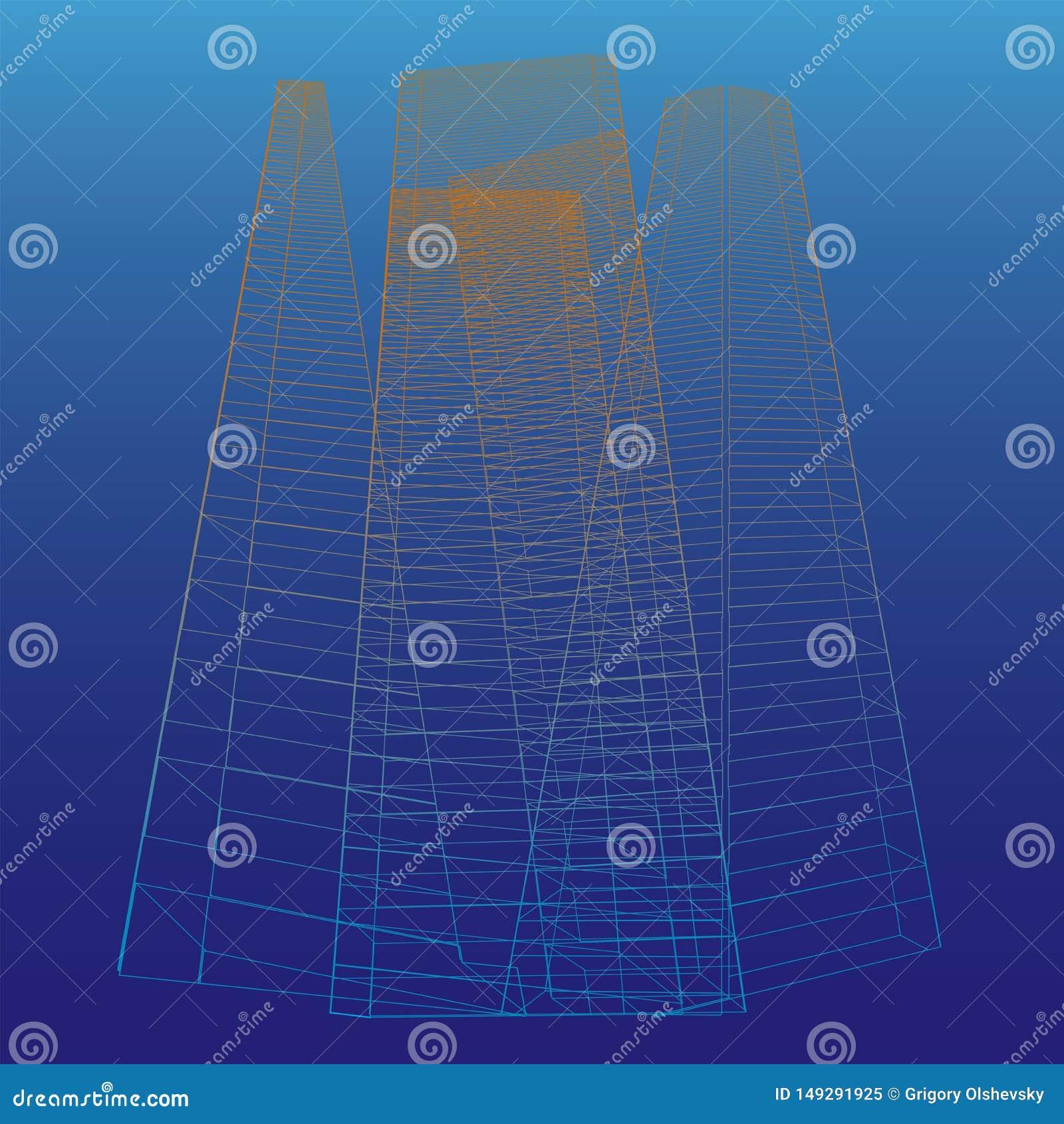 Abstrakcjonistyczni wysocy budynki