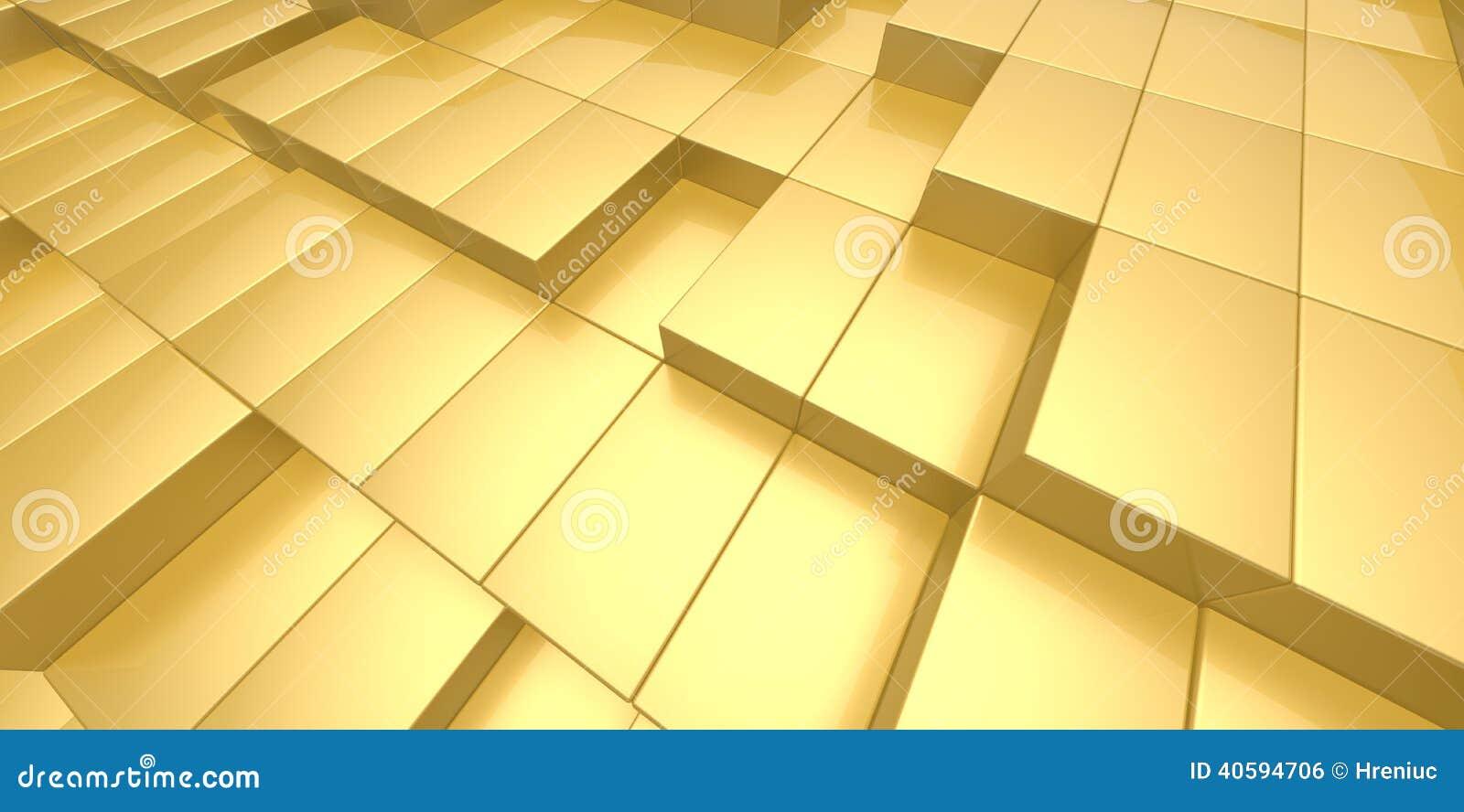Abstrakcjonistyczny żółtego złota tło 3d bloki