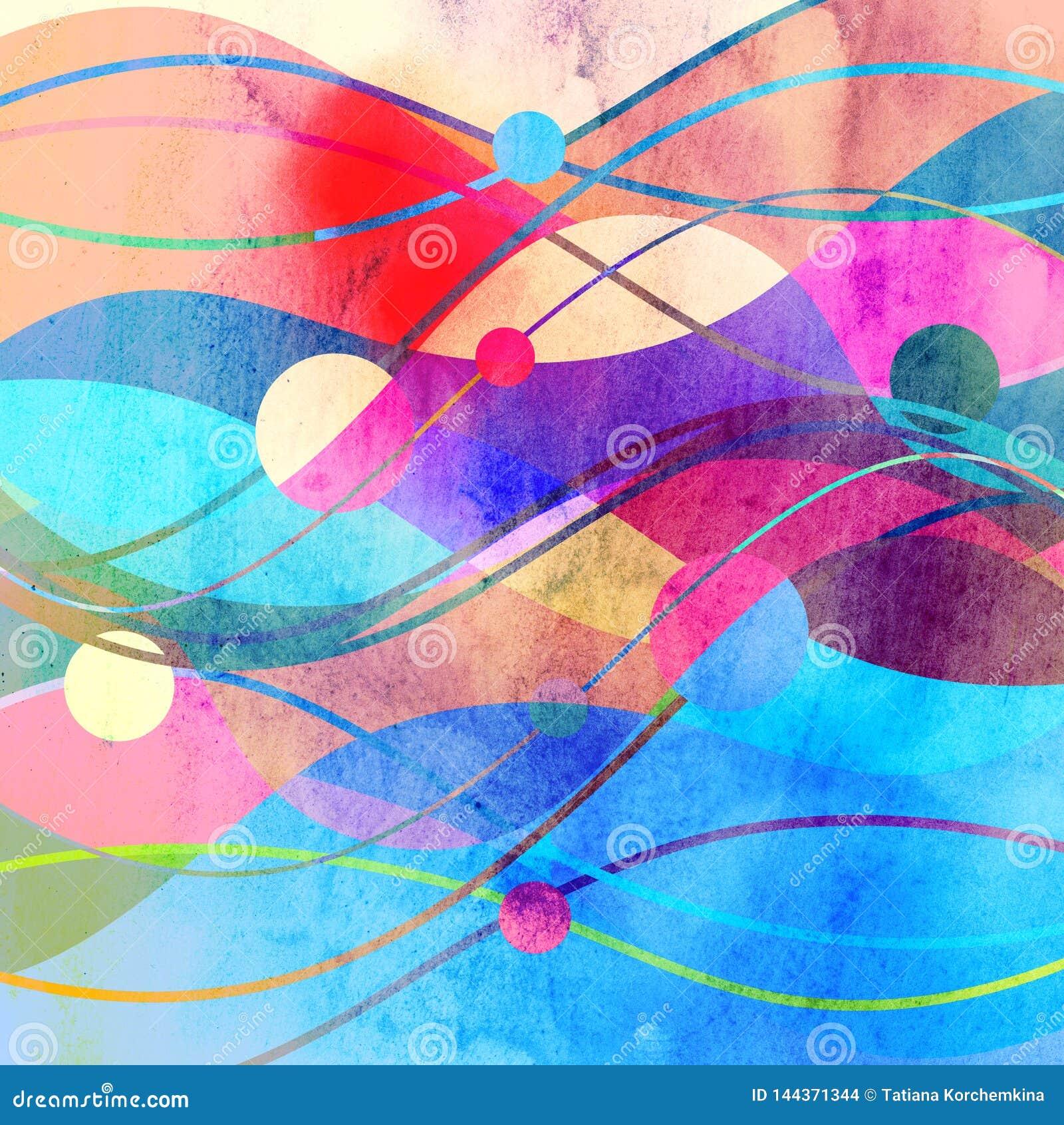 Abstrakcjonistyczny akwareli t?o z geometrycznymi kolor?w przedmiotami