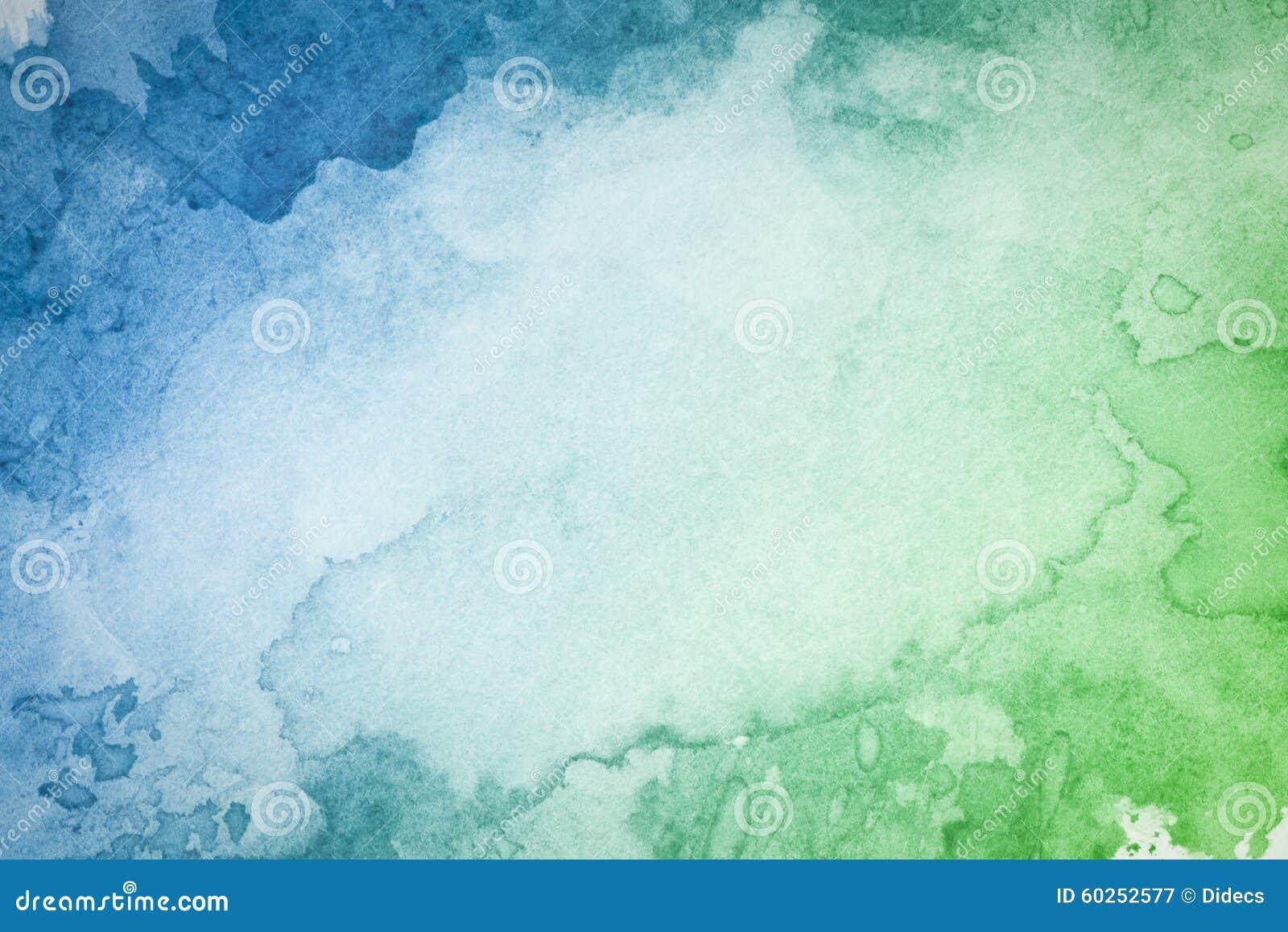 Abstrakcjonistyczny artystyczny zielony błękitny akwareli tło
