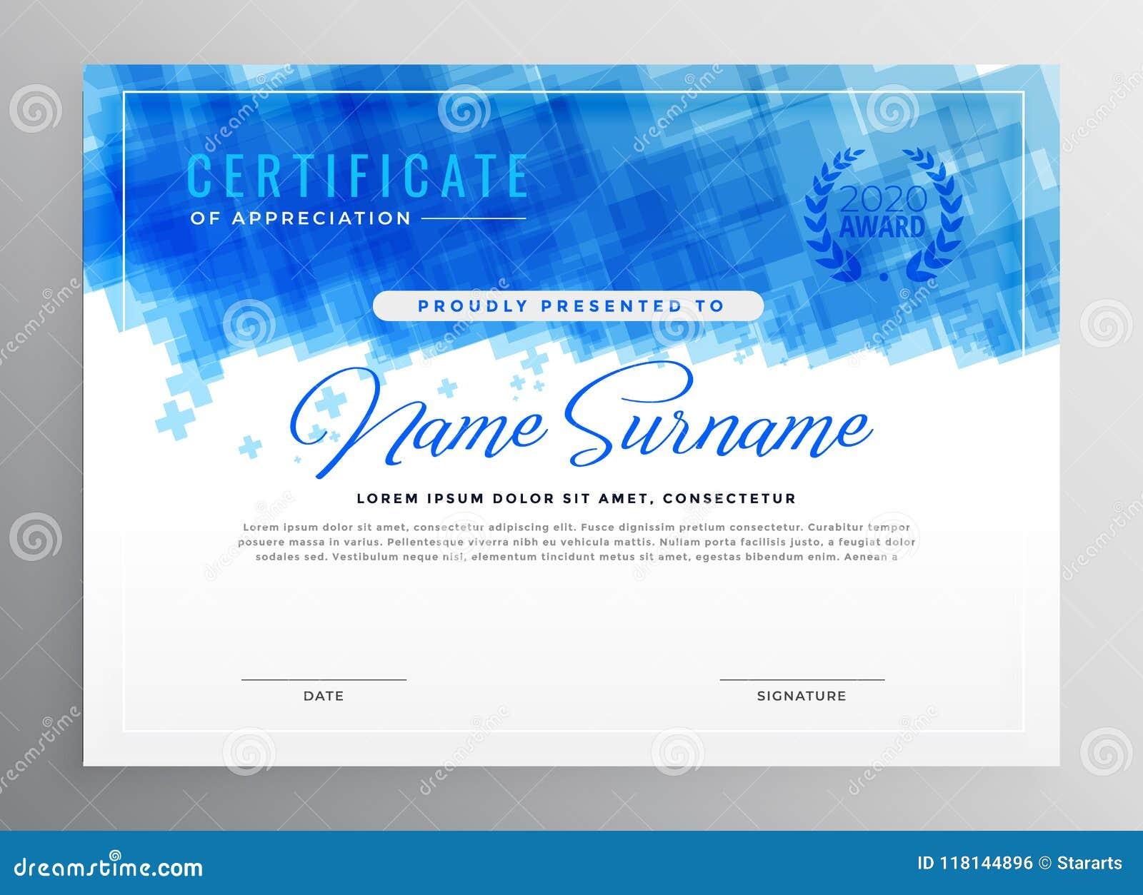 Abstrakcjonistyczny błękitny dyplomu świadectwa projekt