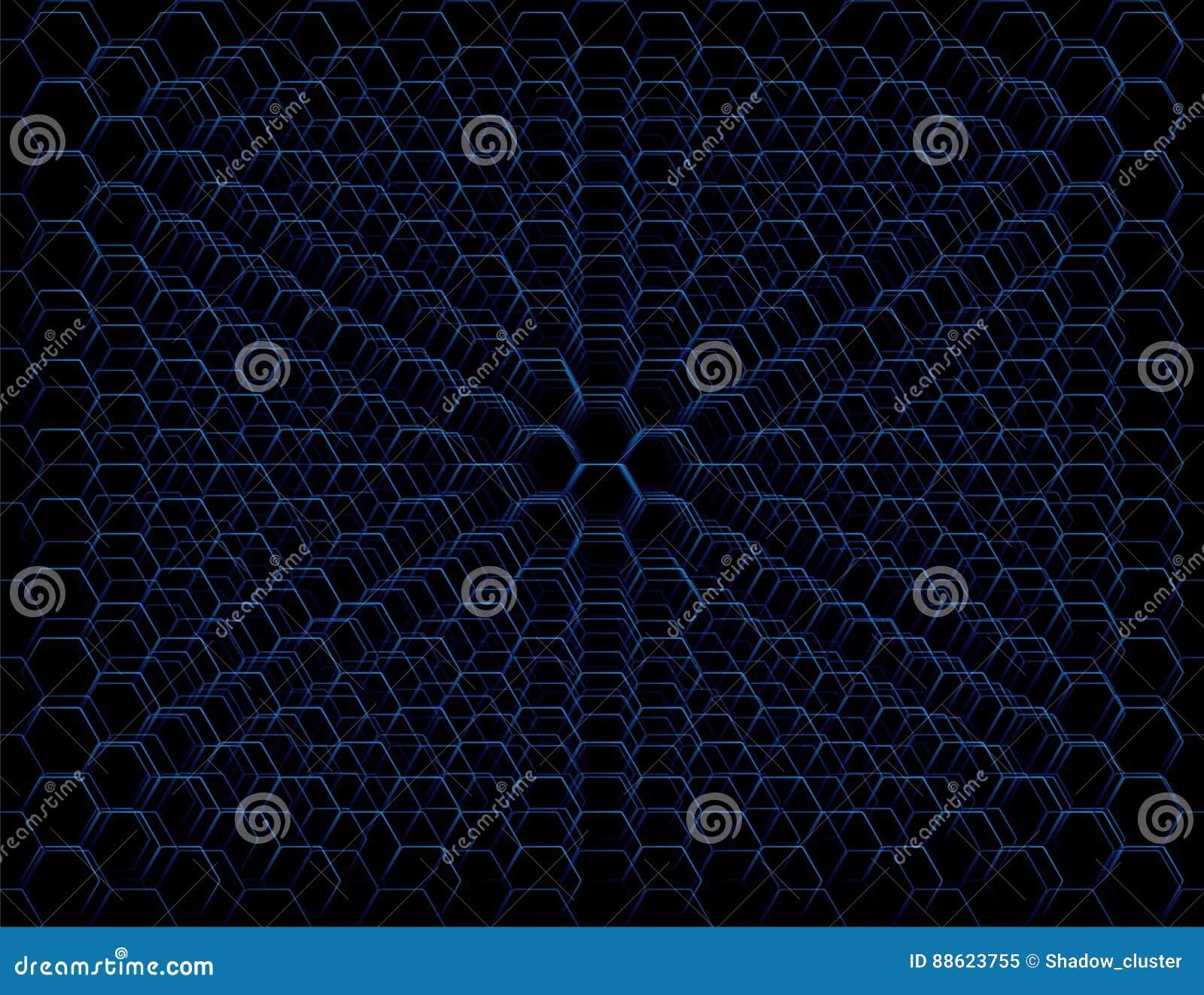 Abstrakcjonistyczny Błękitny Futurystyczny Honeycomb komórki wzór