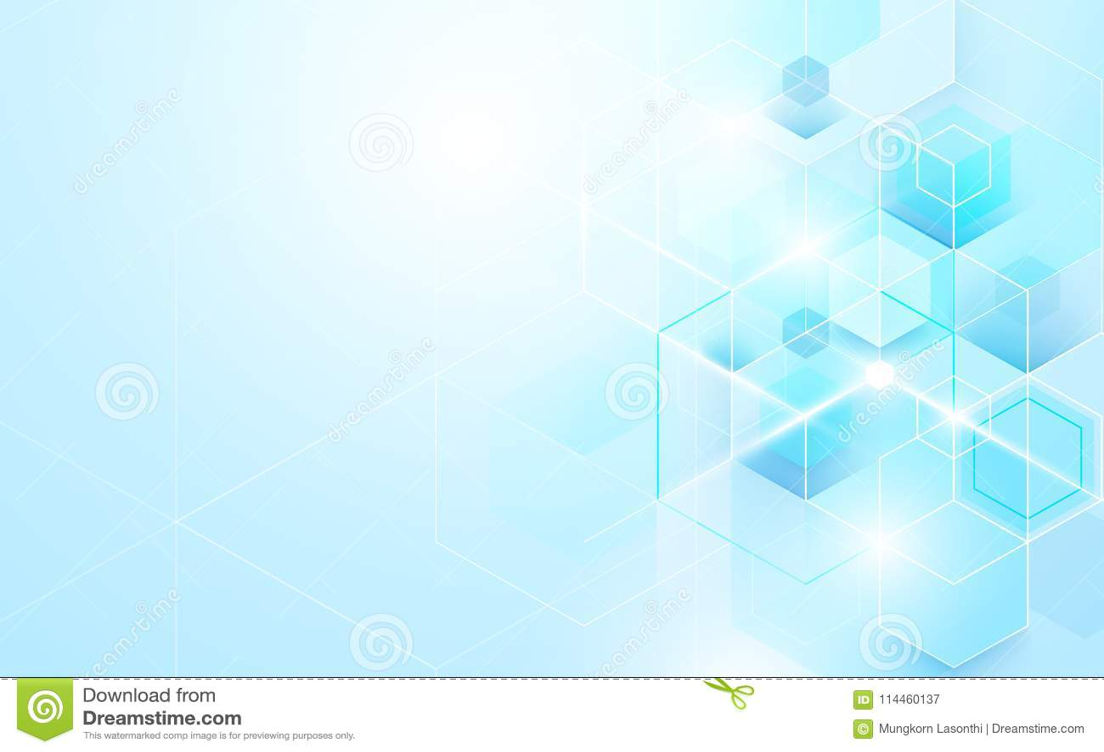 Abstrakcjonistyczny błękitny geometryczny i sześciokąty błyszczący Nauki lub technologii pojęcia tła szablonu broszurki projekt