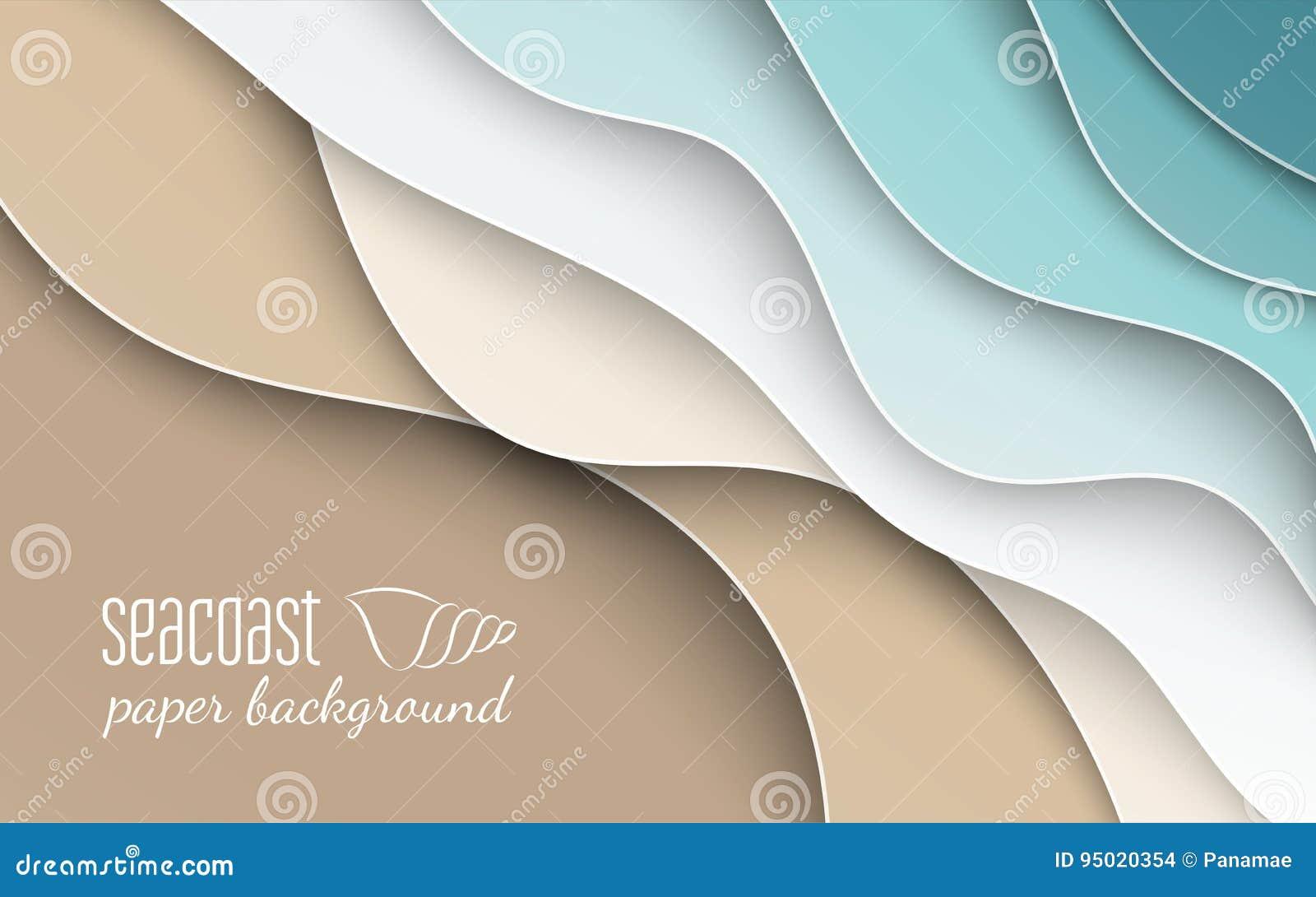 Abstrakcjonistyczny błękitny morza, plaży lata tło z krzywa papieru fala i seacoast sztandaru, plakata lub strona internetowa pro