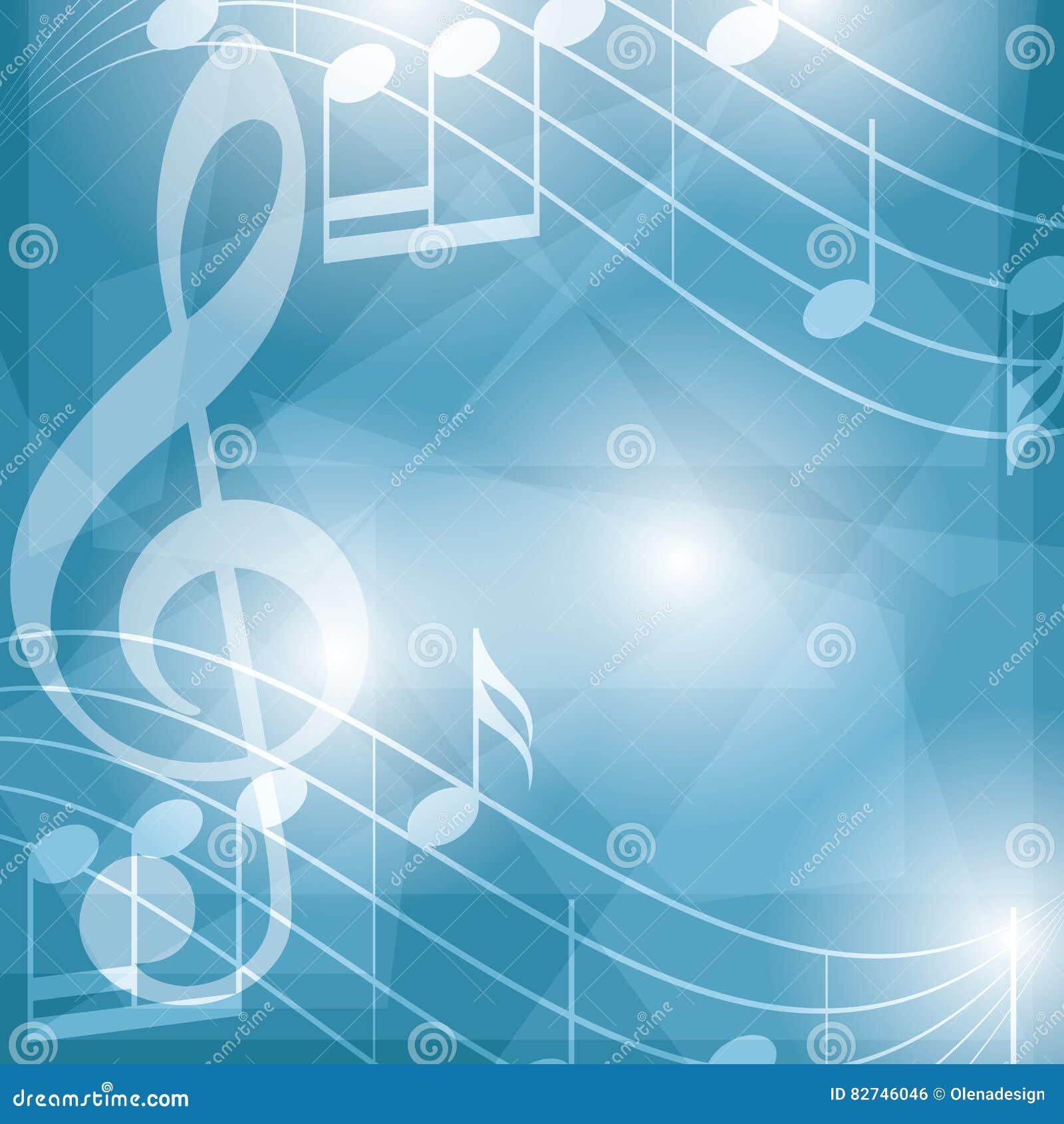 Abstrakcjonistyczny błękitny muzyczny tło z notatkami