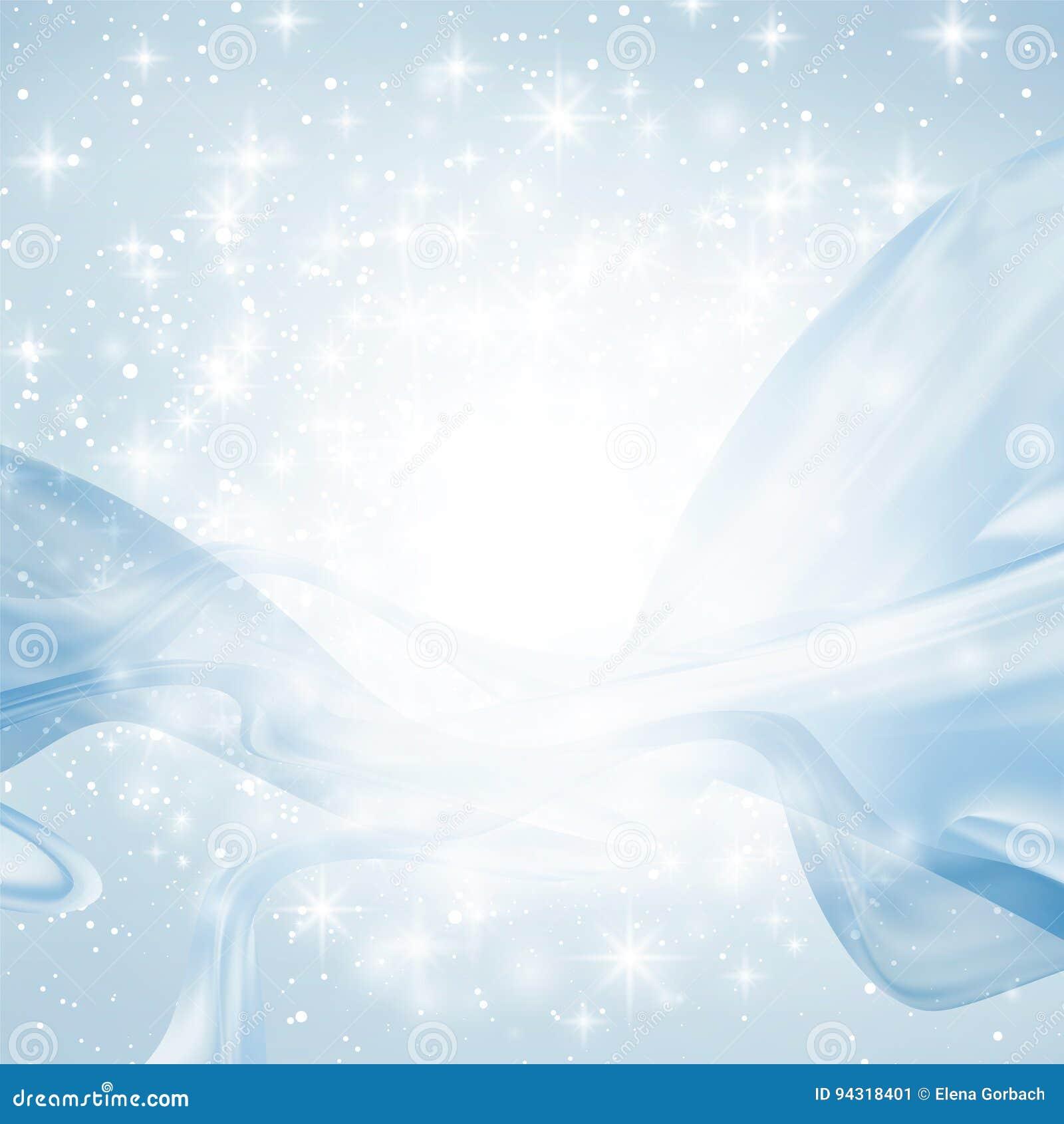 Abstrakcjonistyczny błękitny tło z światłem, wykłada, iskrzy i gra główna rolę, jedwabniczy faborki wyginają się i latają Copyspa