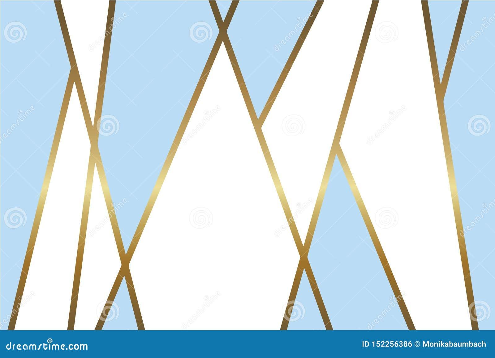 Abstrakcjonistyczny bławy i biały wektorowy tło z błyszczącą kruszcową złotą mozaiką wykłada