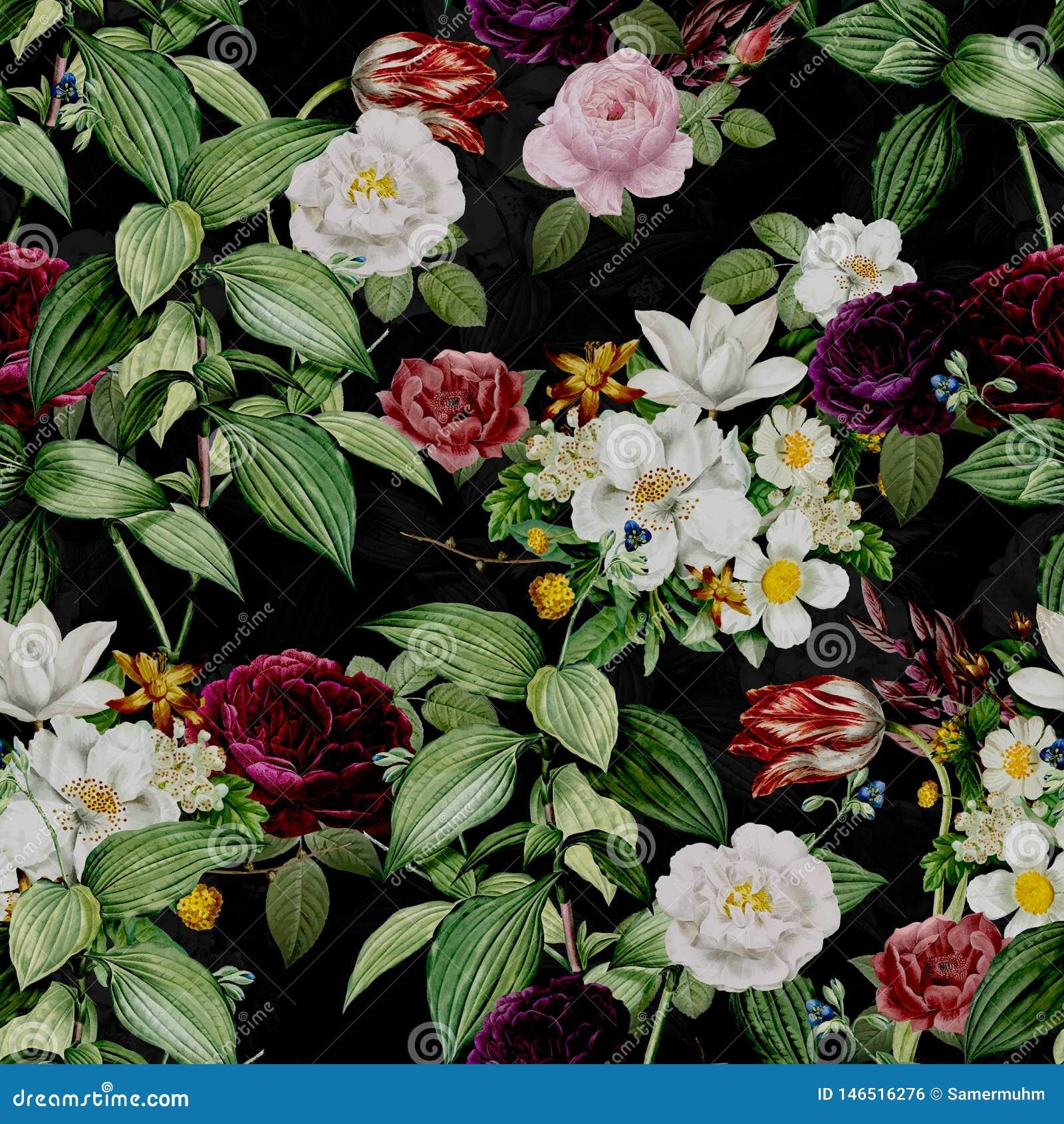 Abstrakcjonistyczny Bezszwowy elegancja wz?r z rocznika ogr?du kwiatami