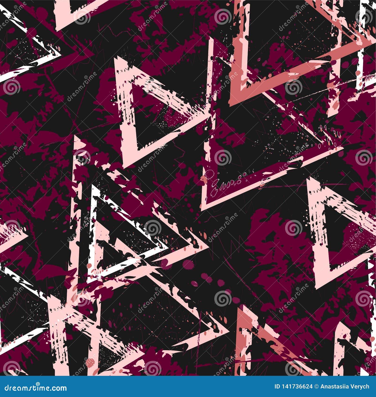 Abstrakcjonistyczny bezszwowy geometryczny tło z krakingową teksturą Grunge wzór dla chłopiec, dziewczyny, sport, moda Miastowy k