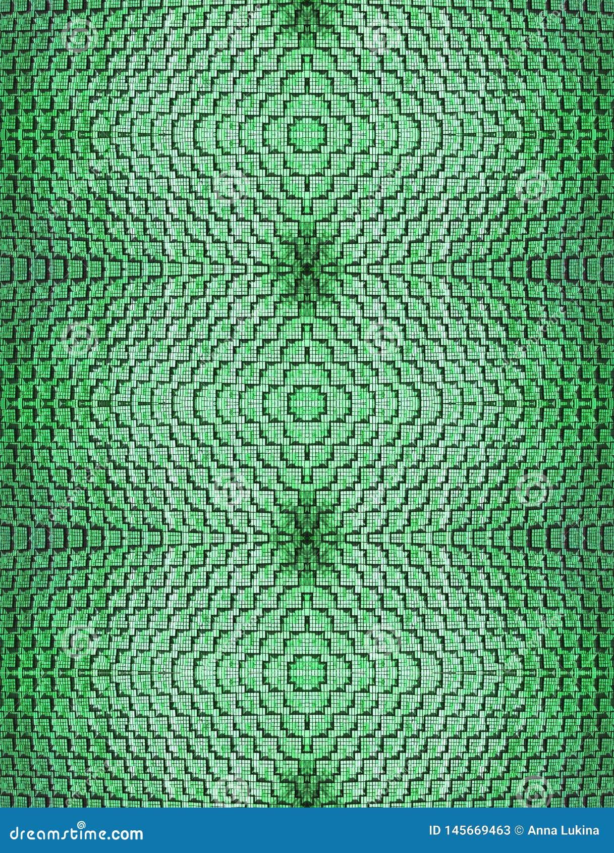 Abstrakcjonistyczny bezszwowy tło cegły kłaść w ciekawym kształcie w zielonym kolorze łączył symmetrically jednakowego textured