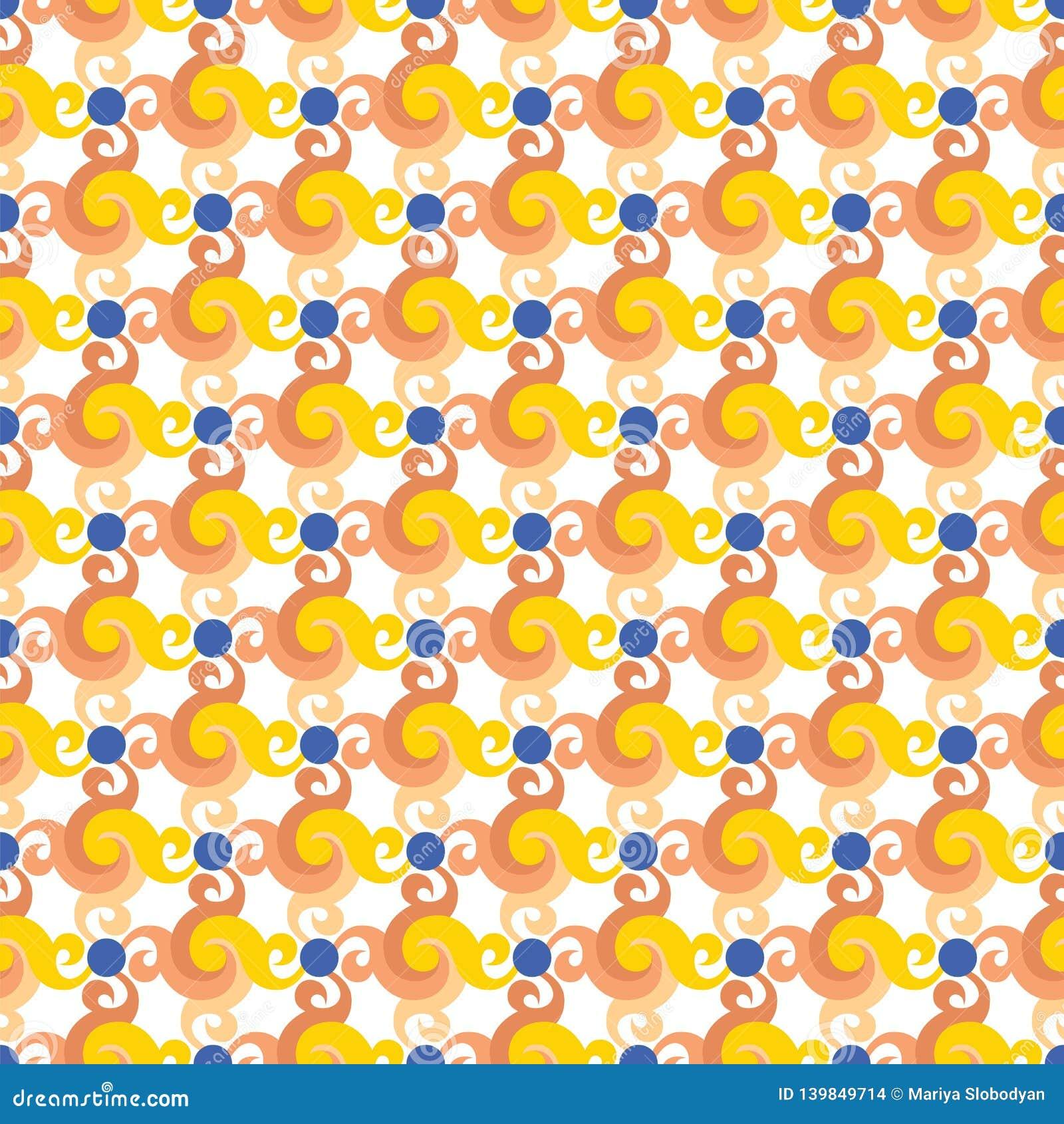 Abstrakcjonistyczny bezszwowy wzór z zawijasami, skręt, liście lub błękit kropki,