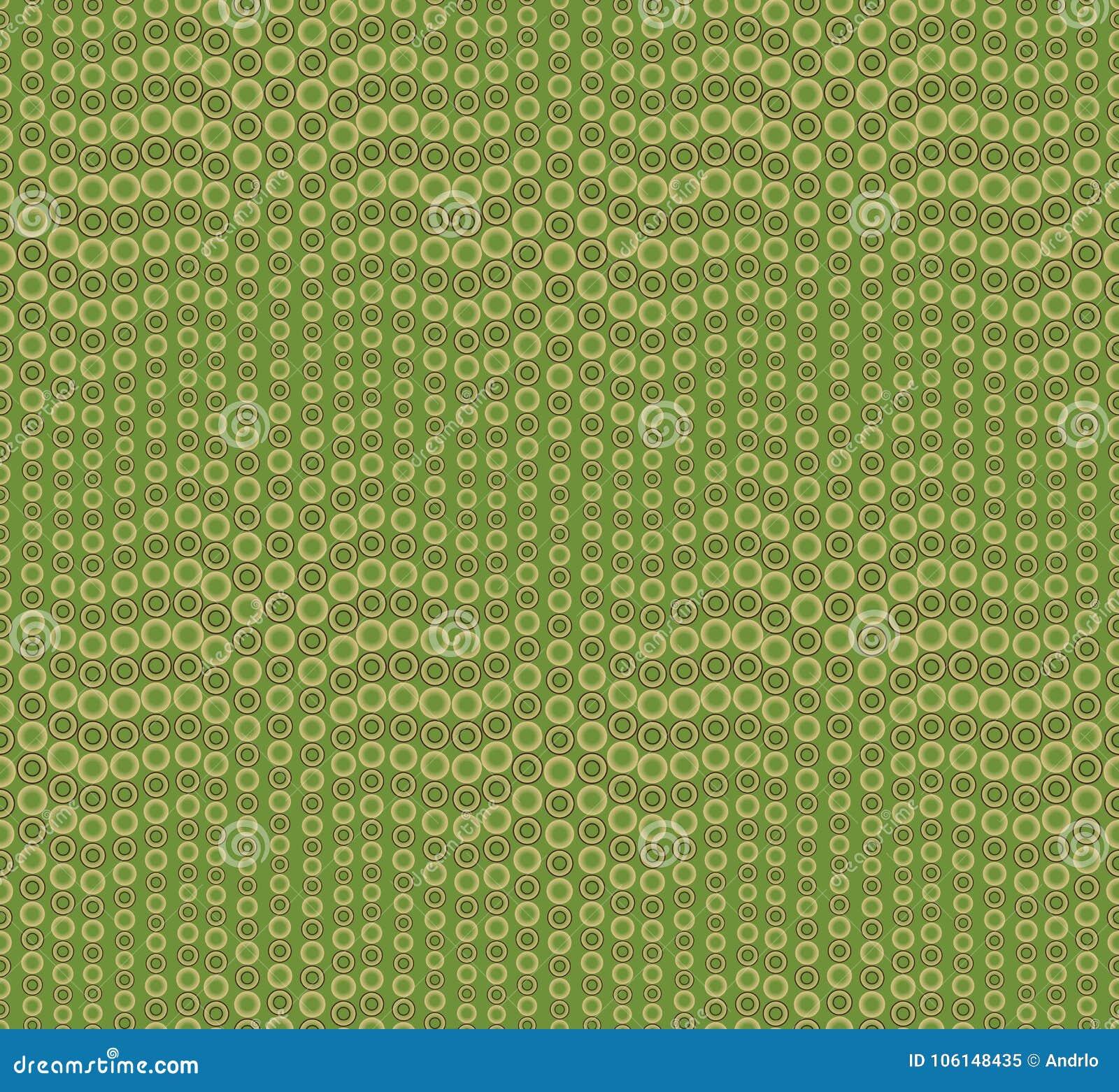 Abstrakcjonistyczny bezszwowy wzór na zielonym tle Kształt fala Składać się z round geometryczne formy
