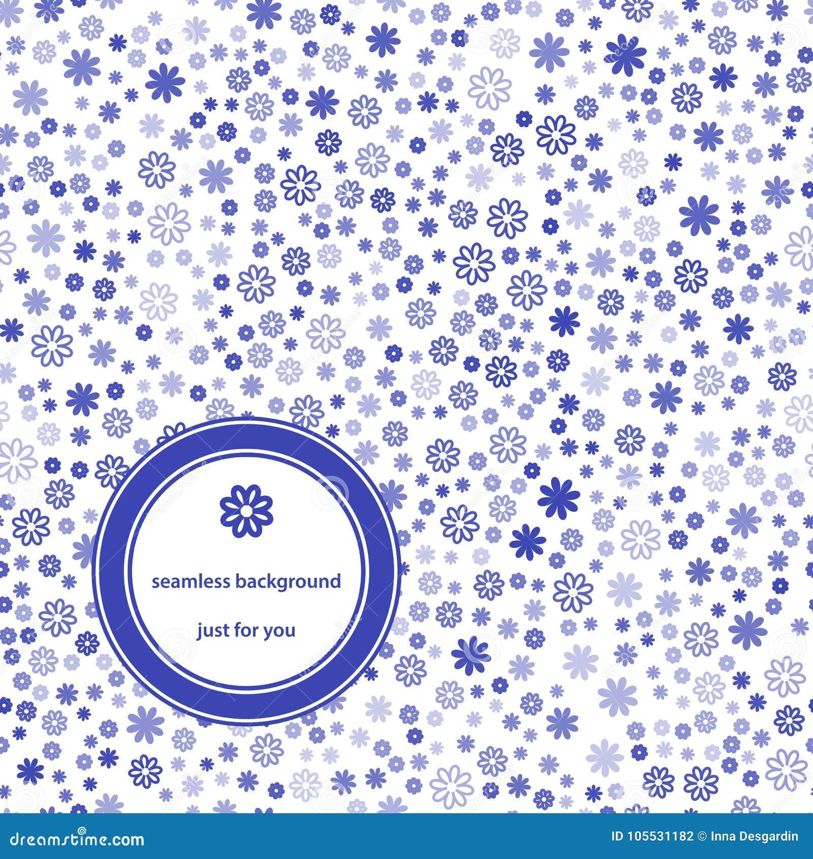 Abstrakcjonistyczny Bezszwowy wzór z kwiecistym tła błękitem, bielem i