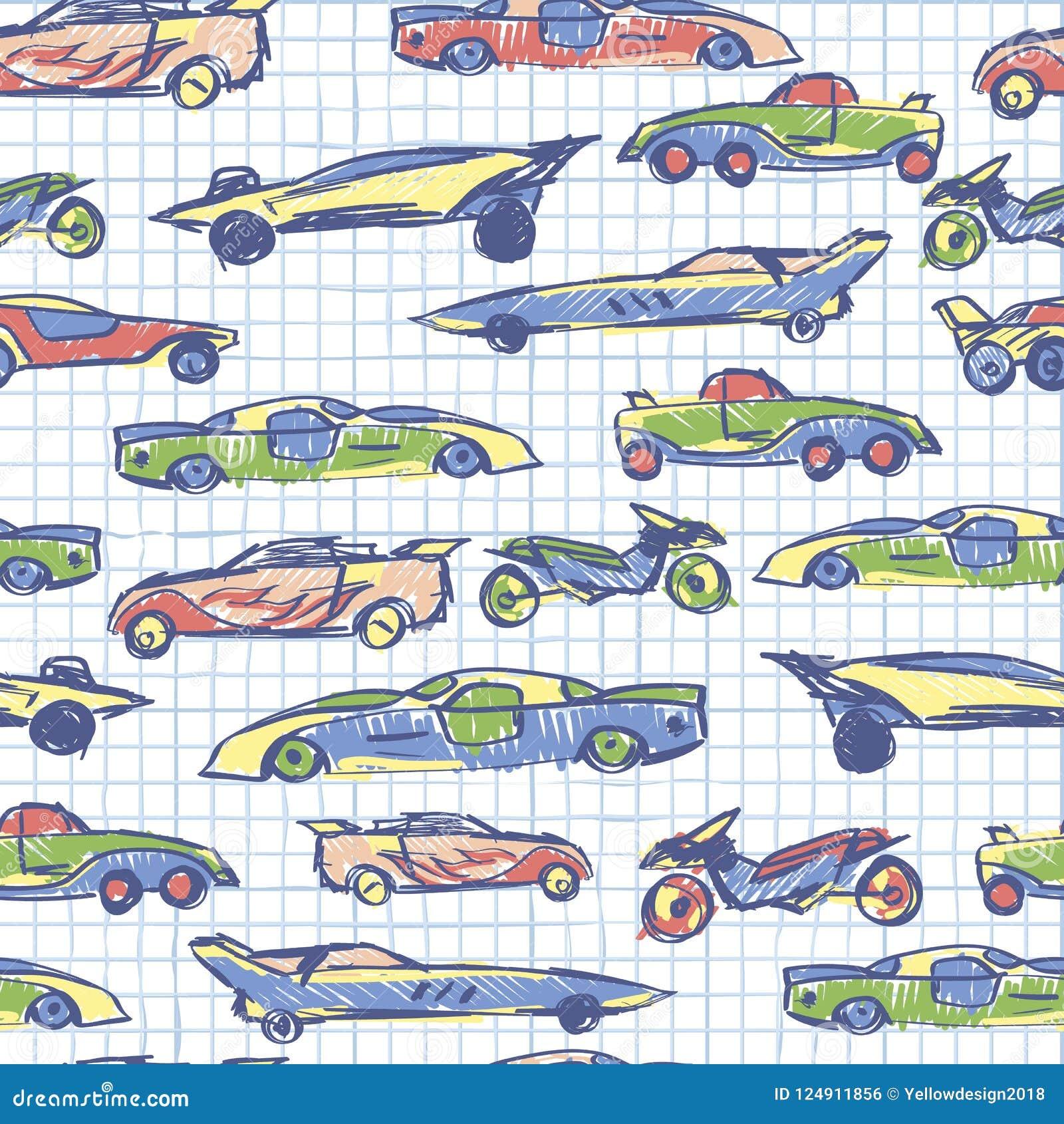 Abstrakcjonistyczny bezszwowy wzór z ręka rysującym ślicznym samochodem Szkolna kolekcja Kreskówka samochodów wektoru ilustracja