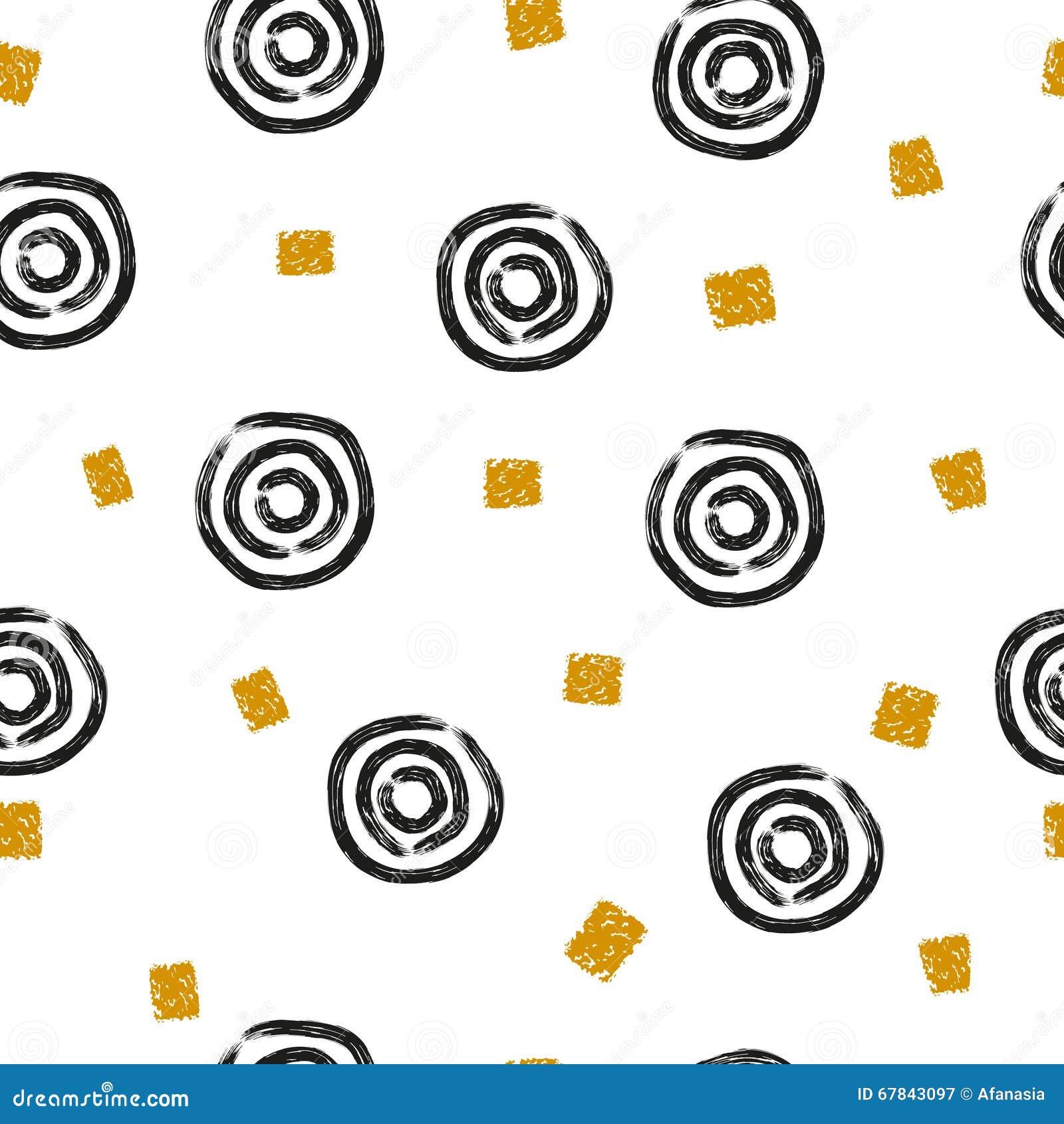 Abstrakcjonistyczny bezszwowy wzór z ręka rysującymi okręgami