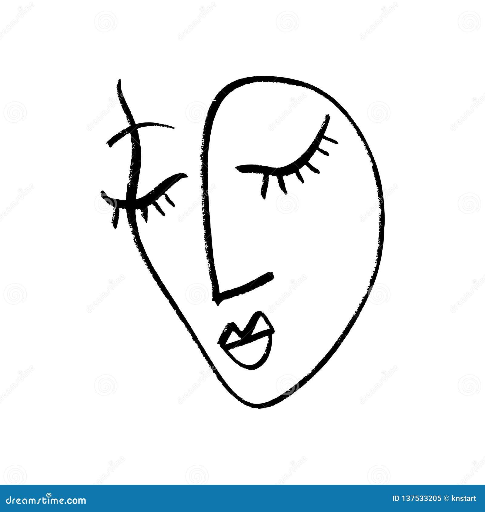 Abstrakcjonistyczny ciągły jeden kreskowy rysunek, kobiety twarz również zwrócić corel ilustracji wektora