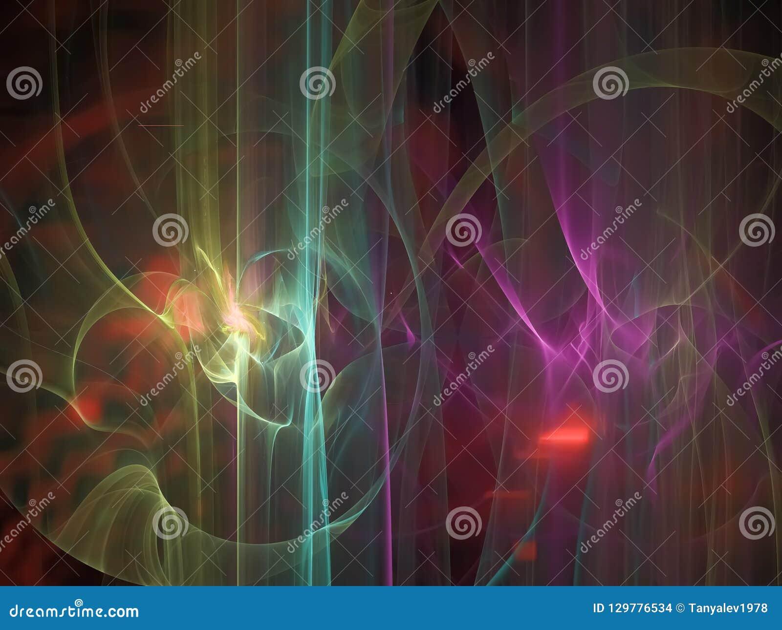 Abstrakcjonistyczny cyfrowy fractal, deseniowa jaskrawa tapetowa kreatywnie łuny pokrywa, futurystyczny elegancja styl
