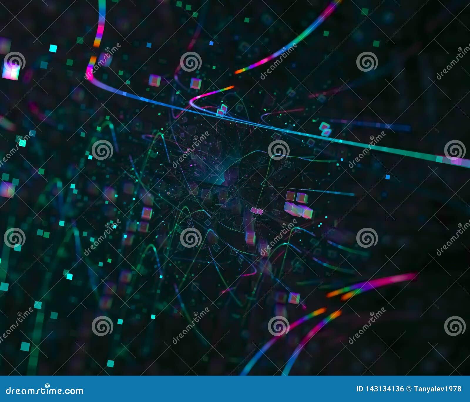 Abstrakcjonistyczny cyfrowy fractal kreatywnie, zawijasa szablonu elementu futurystyczny artystyczny, elegancja, dynamiczna