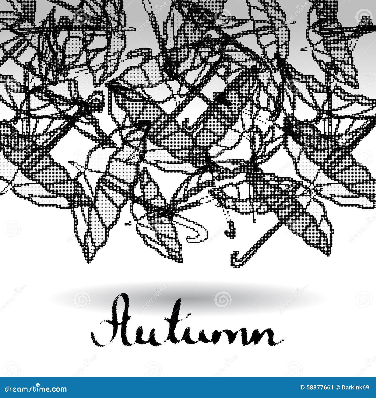 Abstrakcjonistyczny czarny i biały tło rasterized parasole