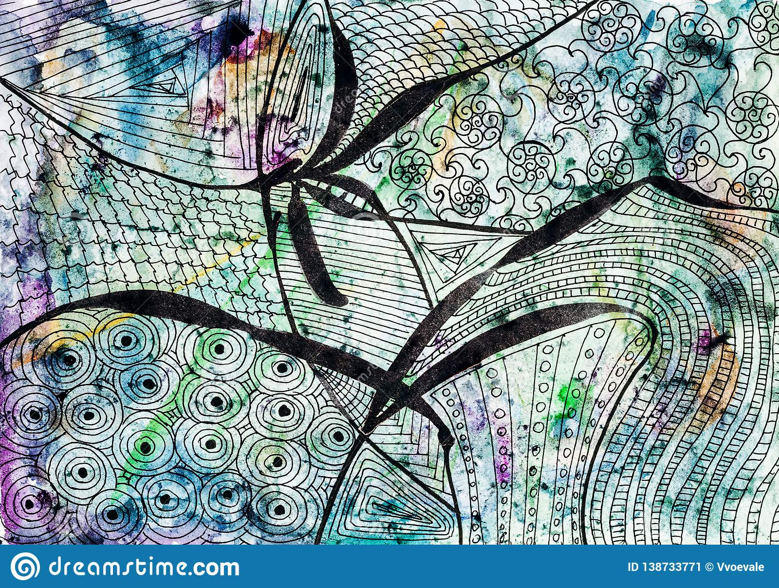 Abstrakcjonistyczny czarny kwiecisty wzór na barwionym papierze