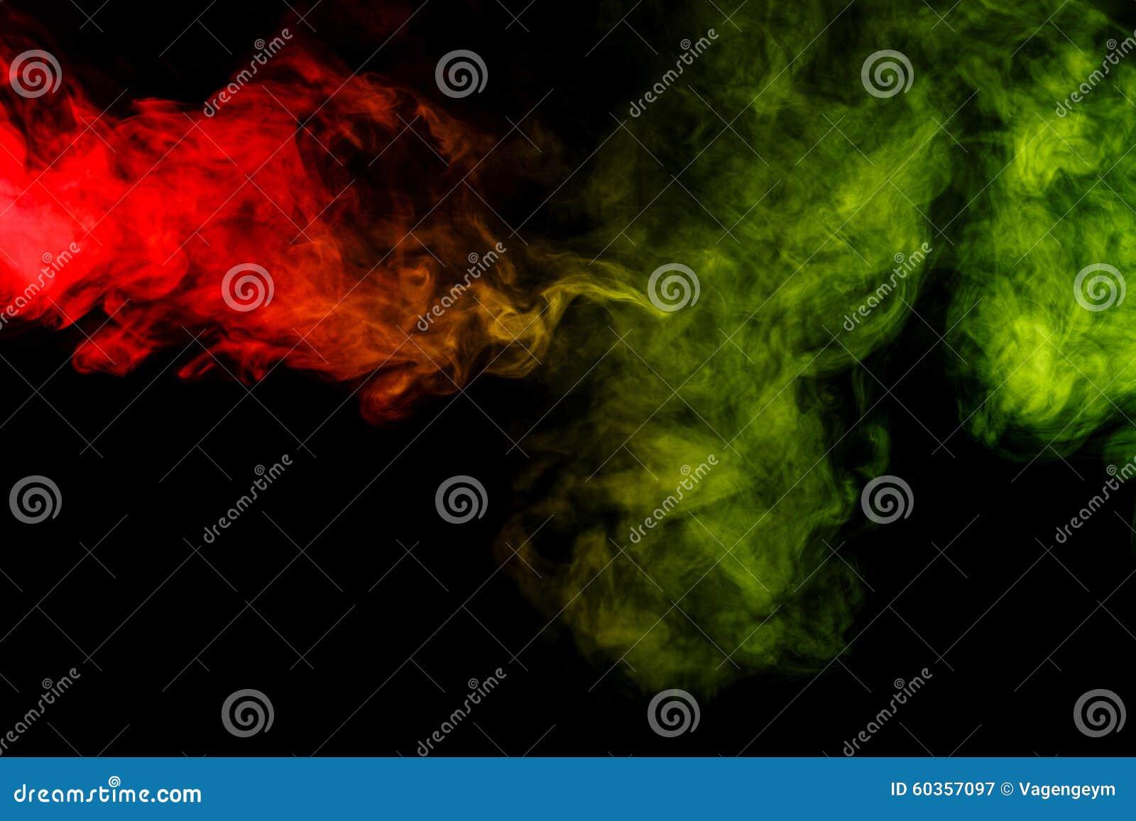 Abstrakcjonistyczny czerwieni i zieleni dymny nargile na czarnym tle