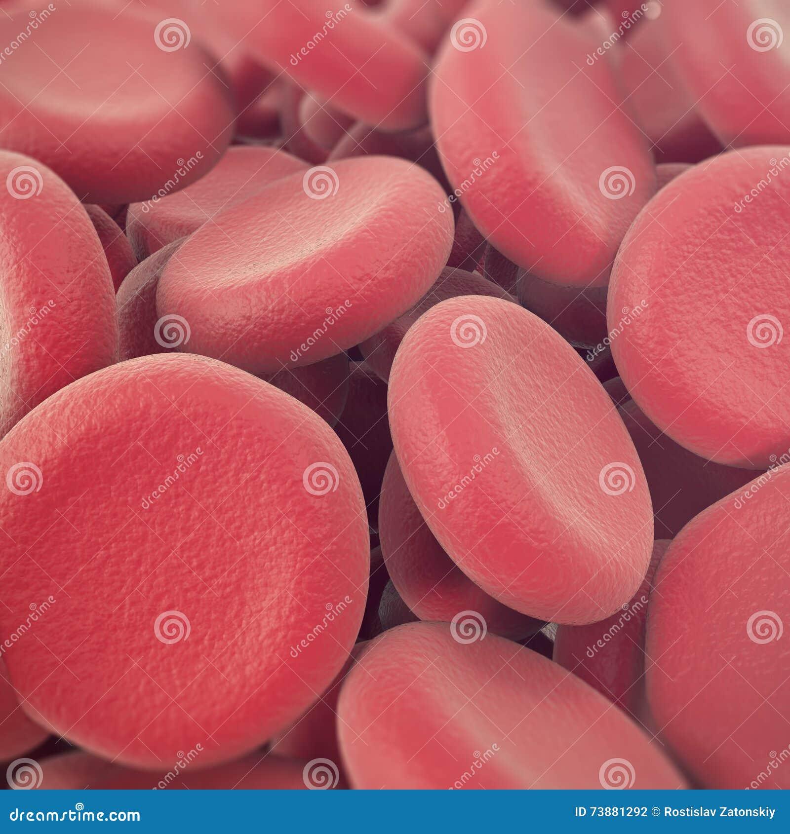 Abstrakcjonistyczny czerwony komórek krwi, erytrocyt ilustraci, naukowego, medycznego lub mikrobiologicznego tło z głębią,
