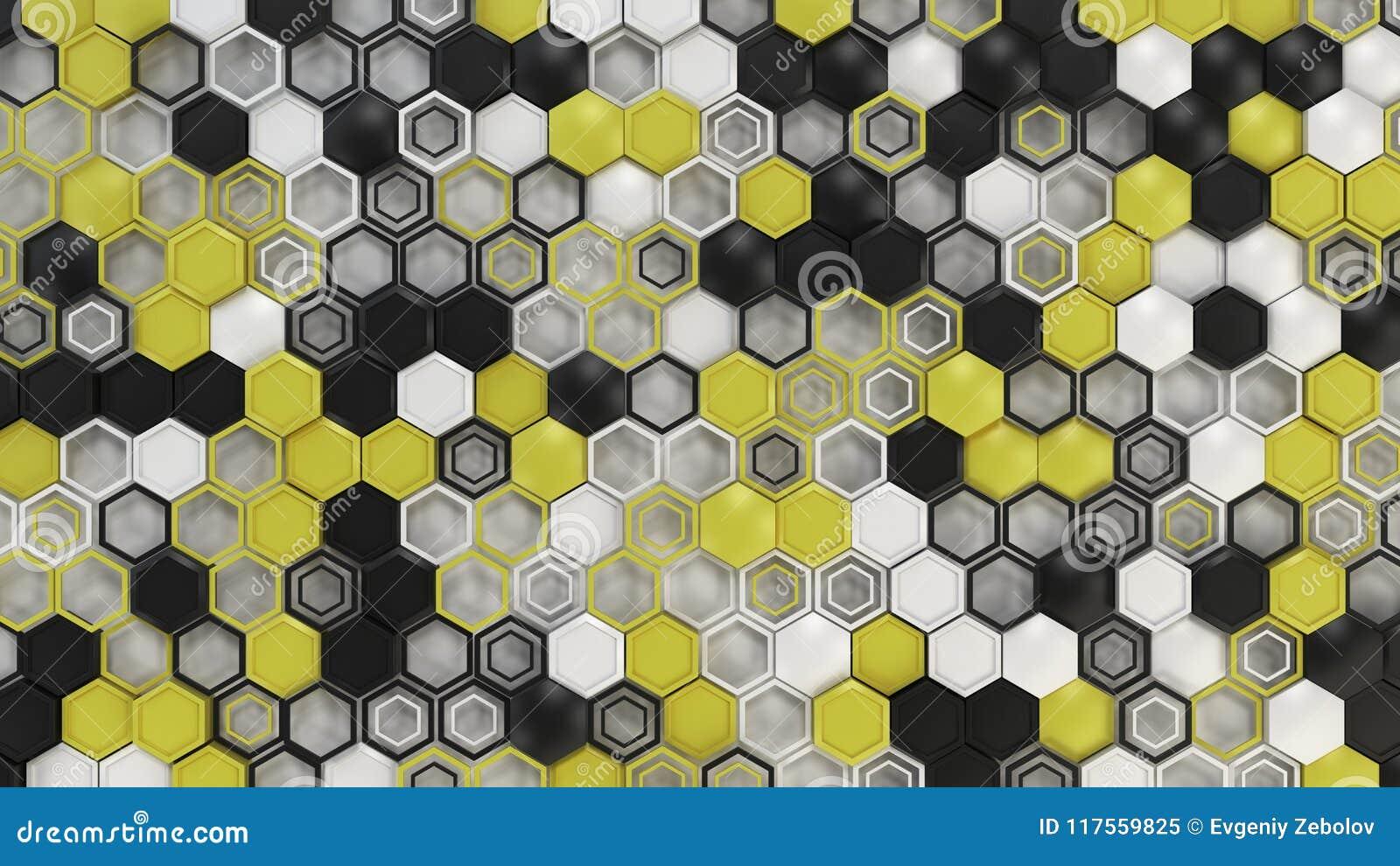Abstrakcjonistyczny 3d tło robić czarni, biali i żółci sześciokąty, na białym tle