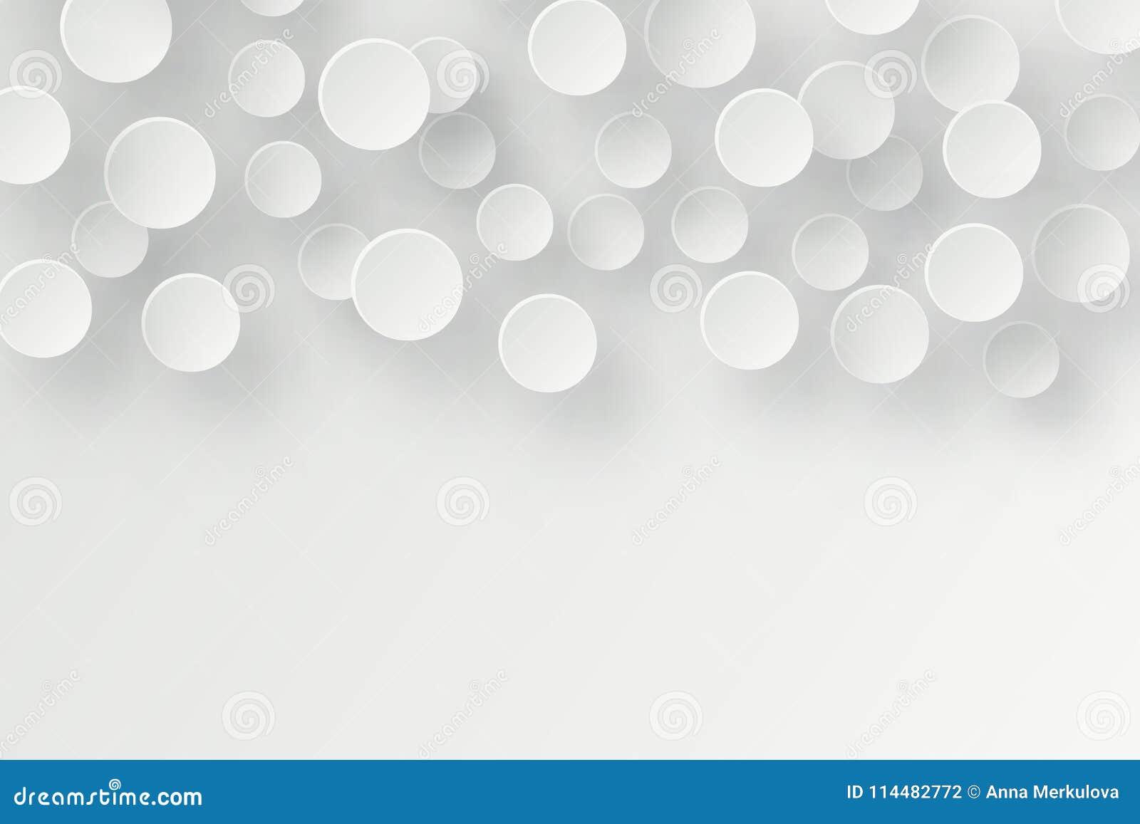 Abstrakcjonistyczny 3d tło z białego papieru geometrycznymi kształtami, okrąg