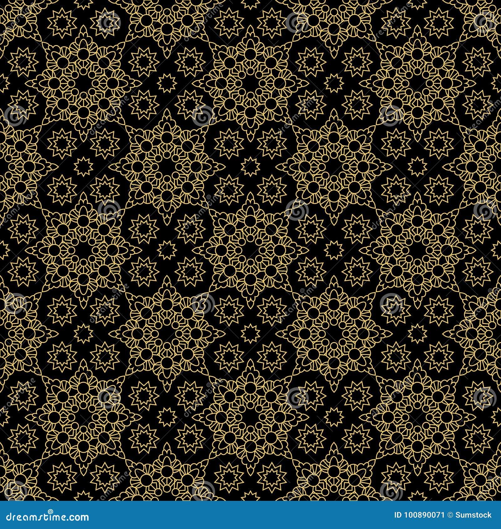 Abstrakcjonistyczny dekoracyjny wschodni stylowy luksusowy złoty wzór