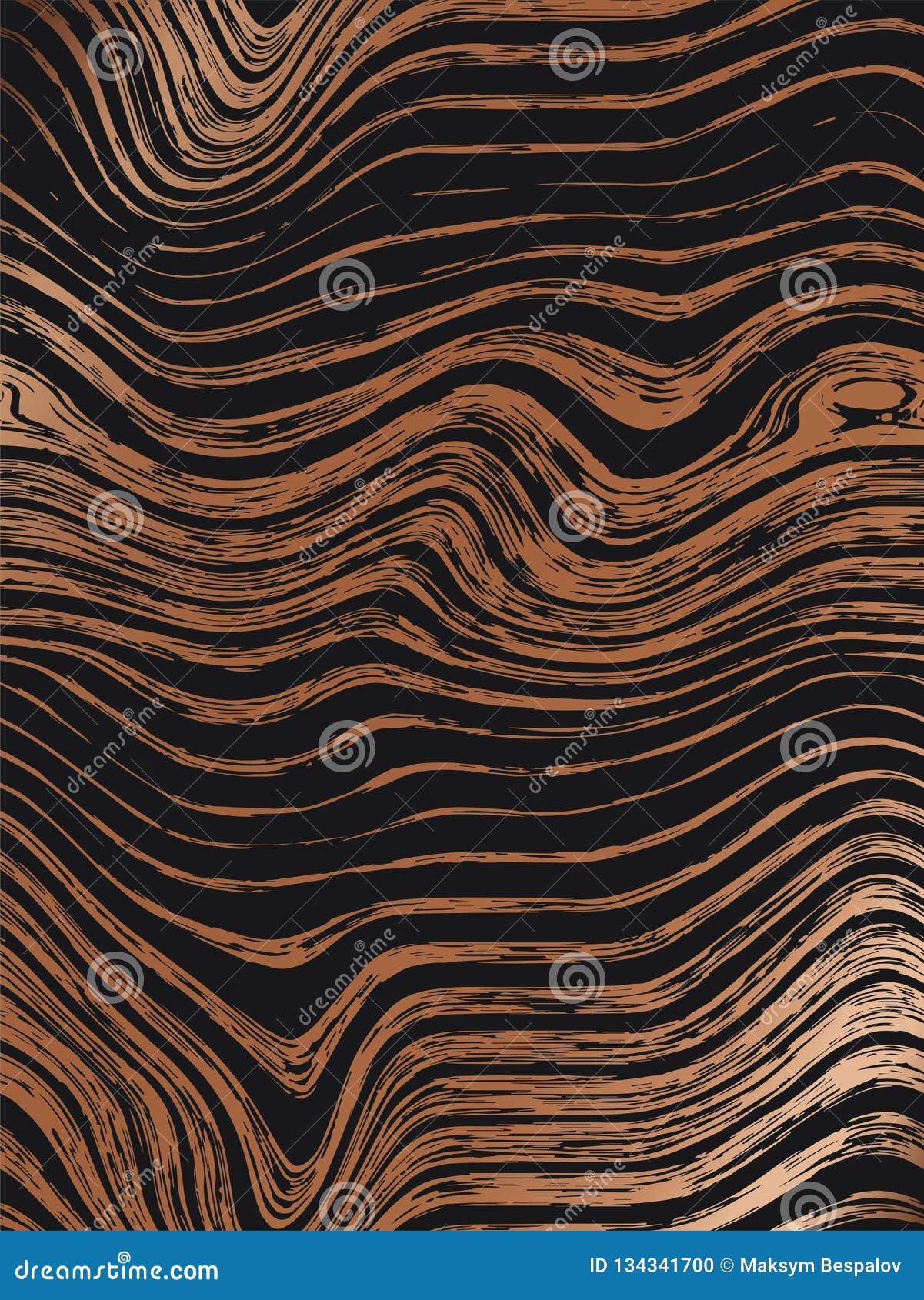 Abstrakcjonistyczny drewniany złoto wzoru tekstur tło Bezszwowa luksusowa drewniana tekstura, deskowa ręka rysująca grafika Zwart