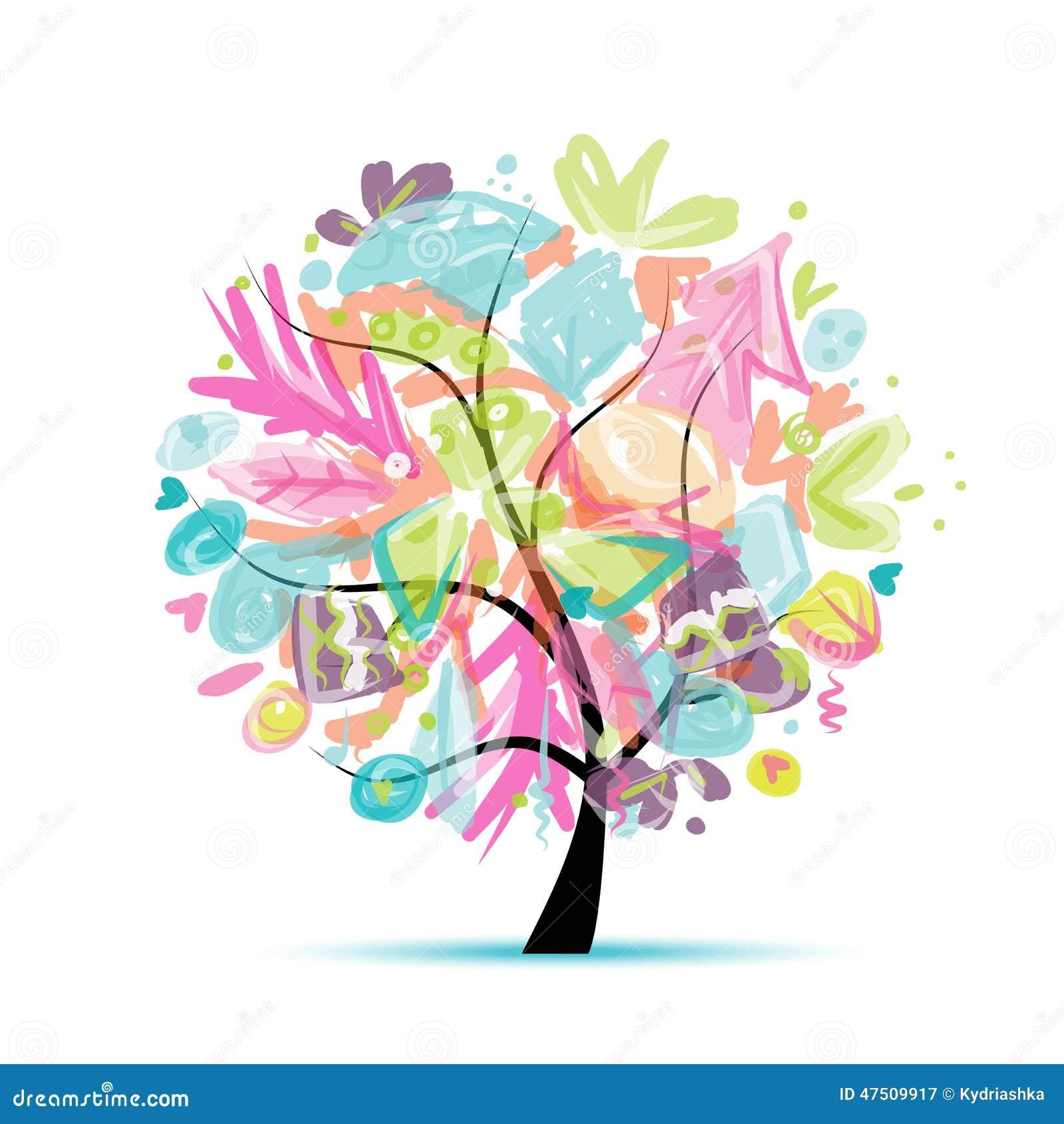 Abstrakcjonistyczny drzewny kwiecisty dla twój projekta