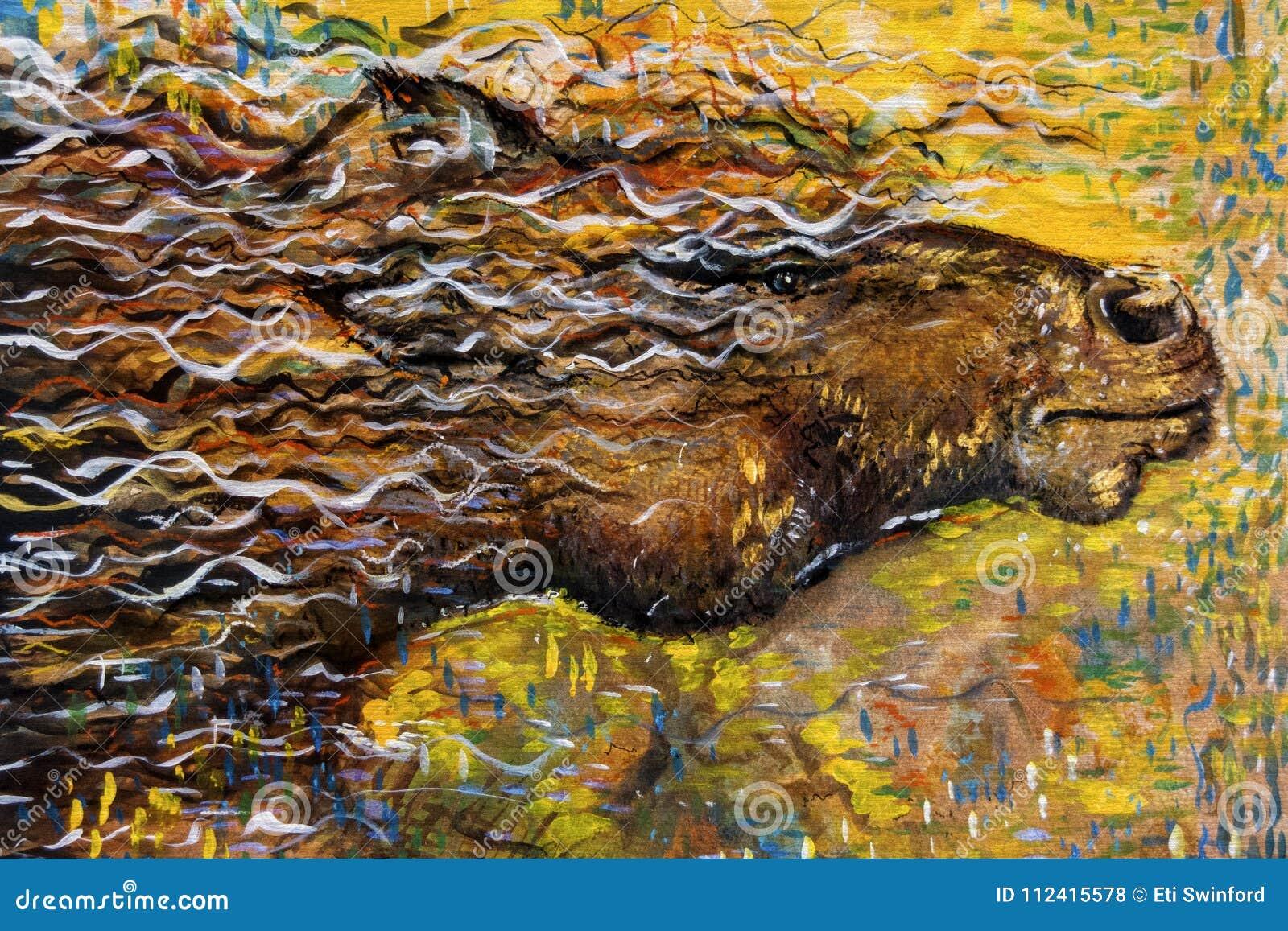 Abstrakcjonistyczny dzikiego konia działający obraz