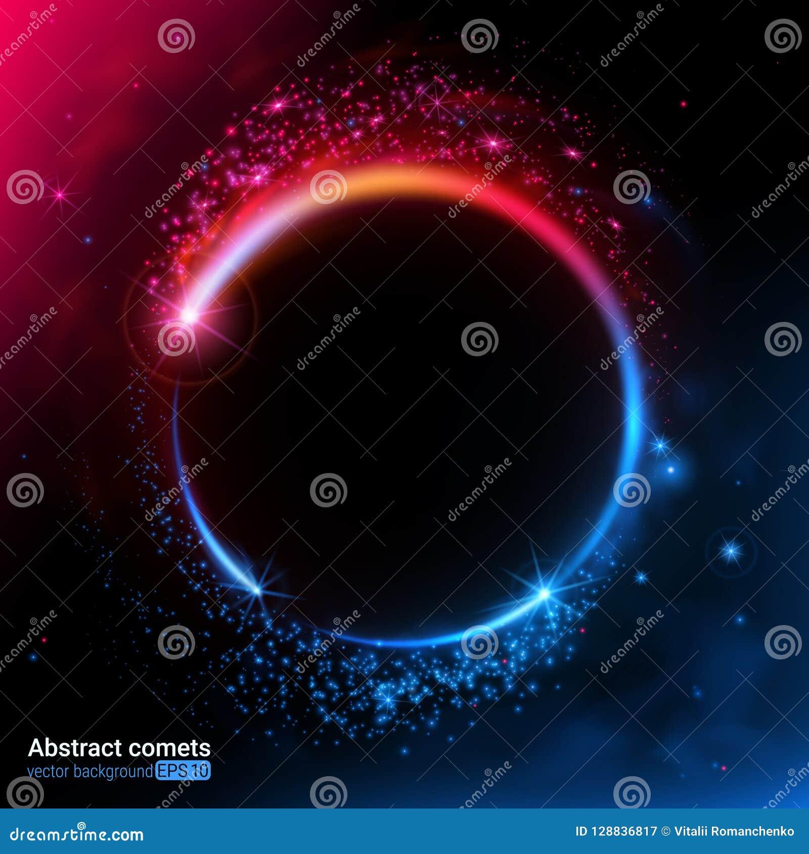 Abstrakcjonistyczny futurystyczny wizerunek przestrzeń Opróżnia miejsce dla teksta Komety, planety i gwiazdy, energia ruch koloro