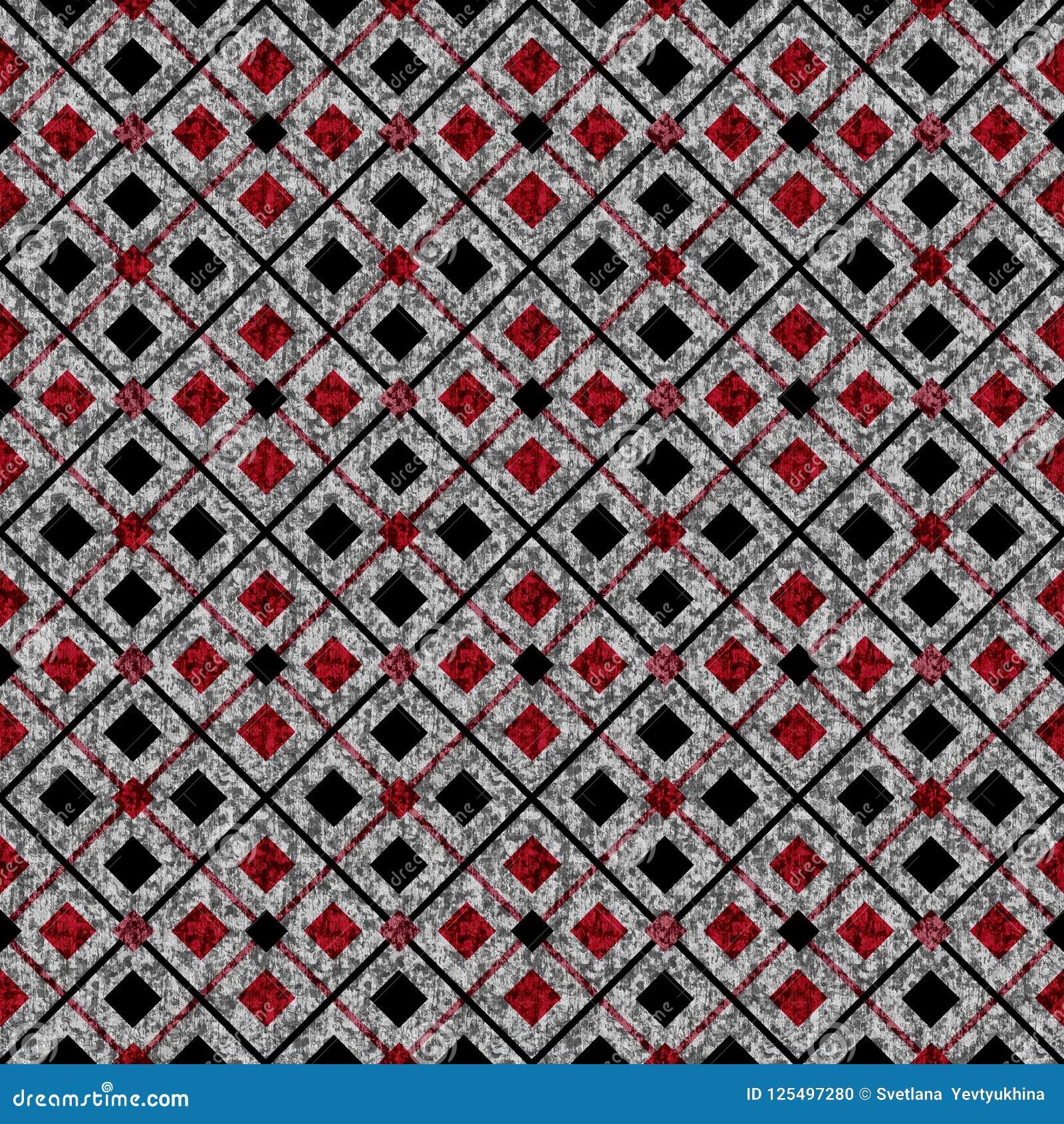 Abstrakcjonistyczny geometryczny deseniowy bezszwowy Rewolucjonistka, czarni kwadraty na popielatym tle