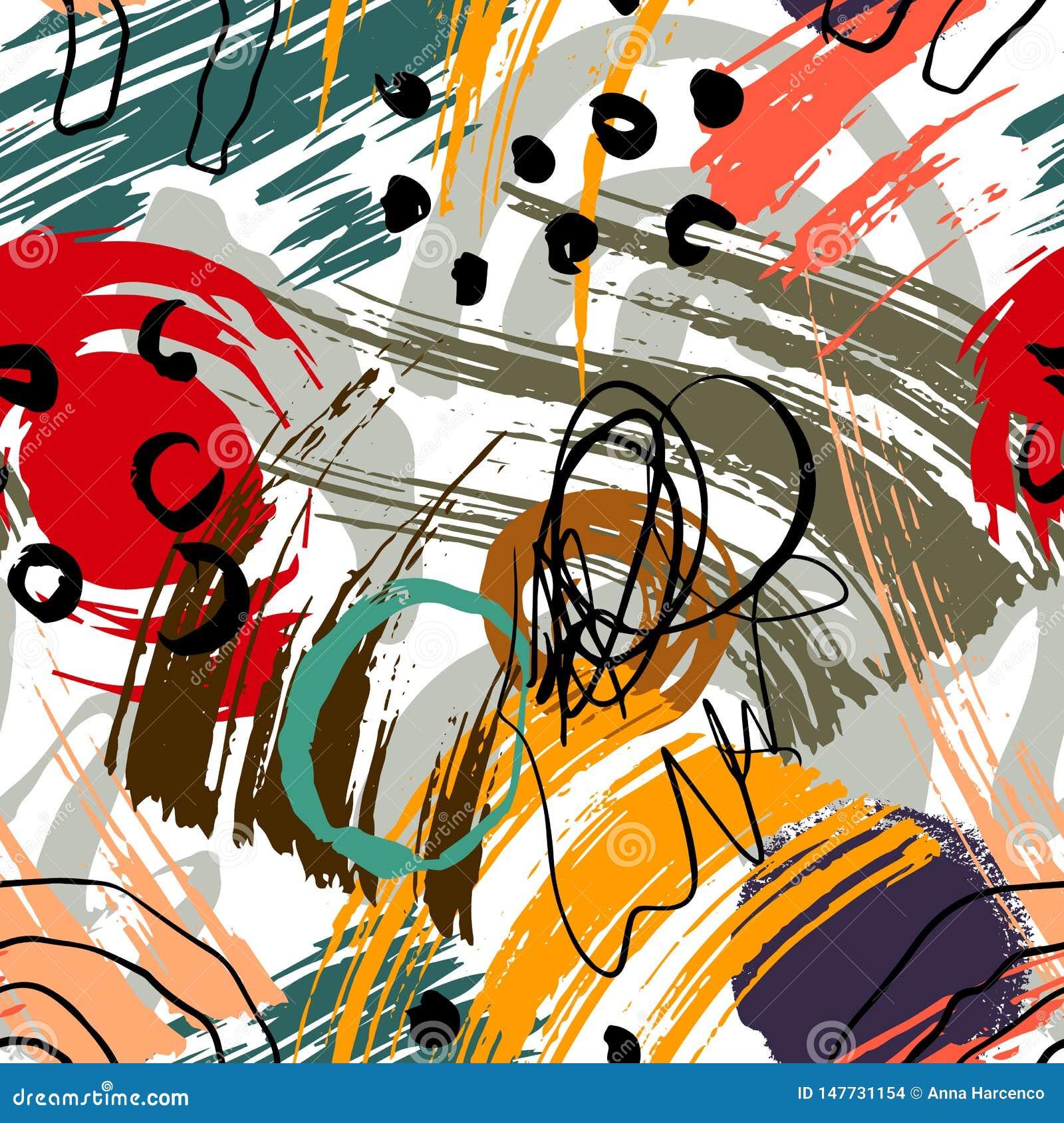 Abstrakcjonistyczny geometryczny wz?r z falistymi liniami Doodle backgrounded t?o bezszwowy wektora