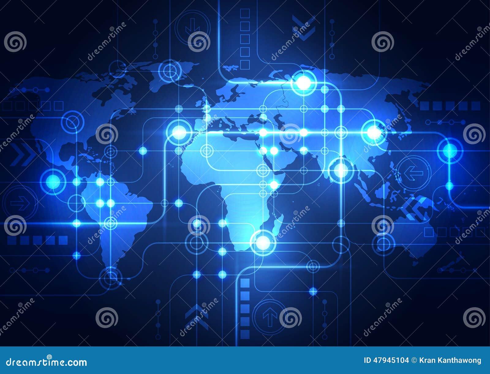 Abstrakcjonistyczny globalnej sieci technologii tło, wektor