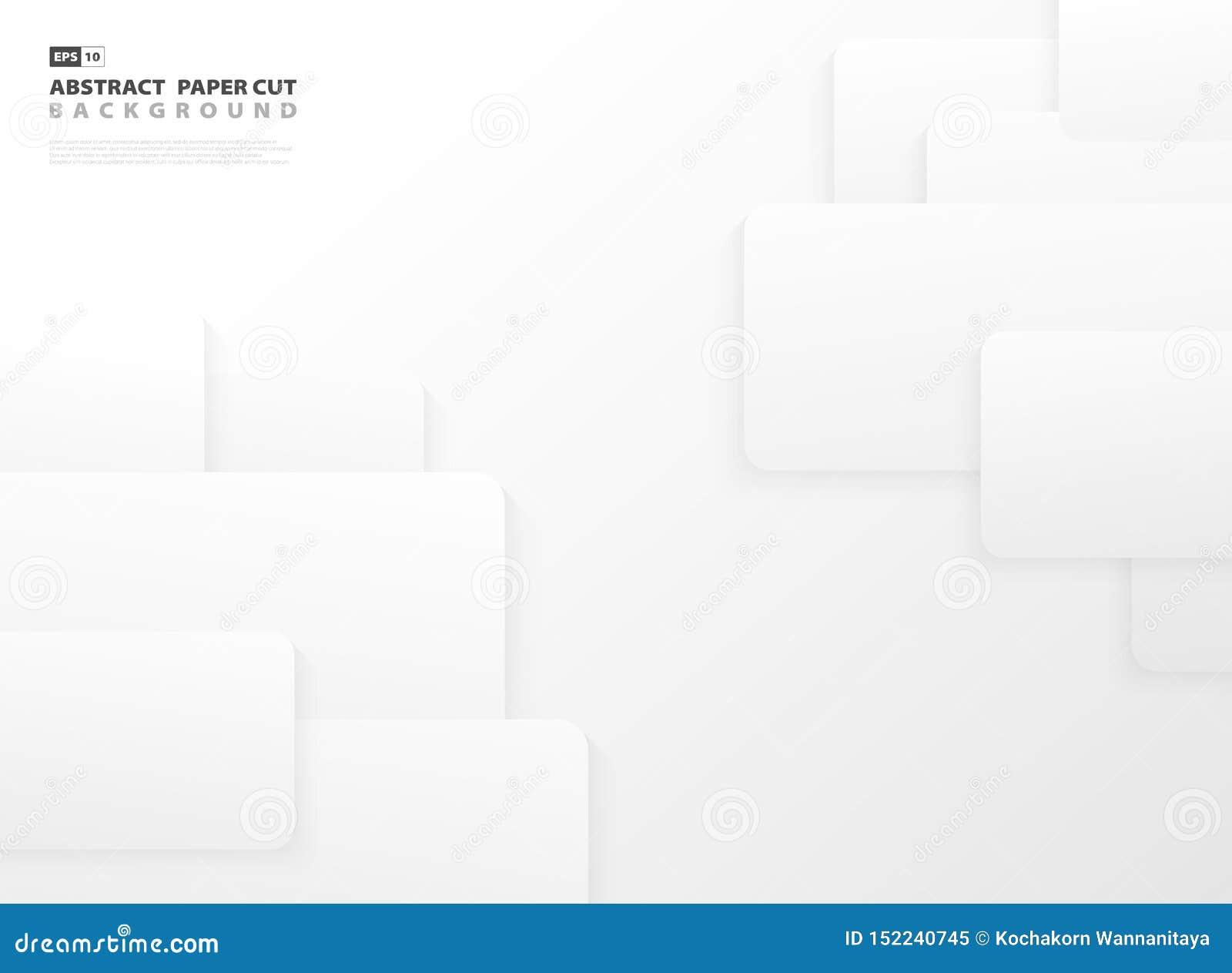 Abstrakcjonistyczny gradientowy szarość i bielu koloru papieru rżnięty szablon projektuje tło